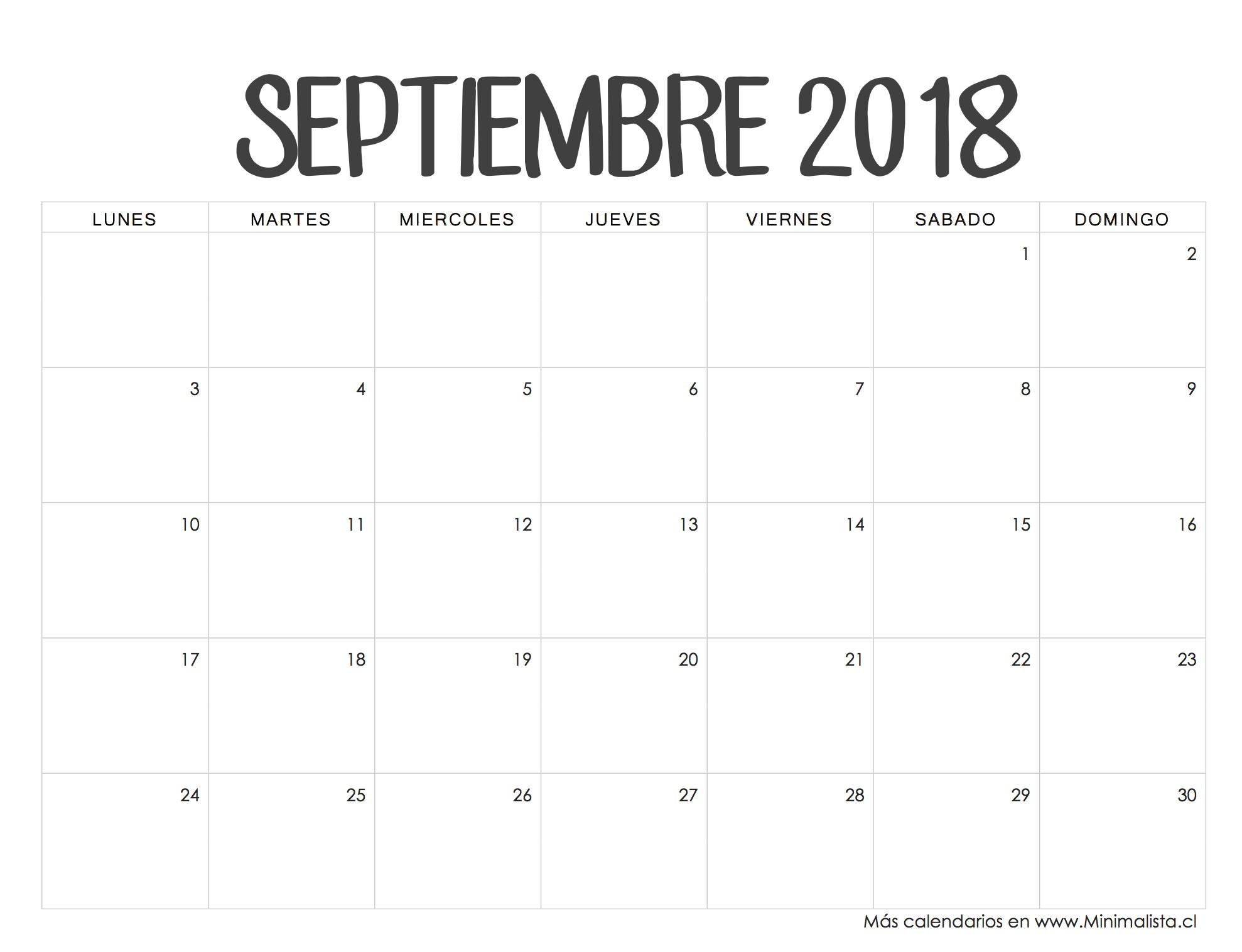 Calendario Septiembre 2018 CREATIVITY Pinterest