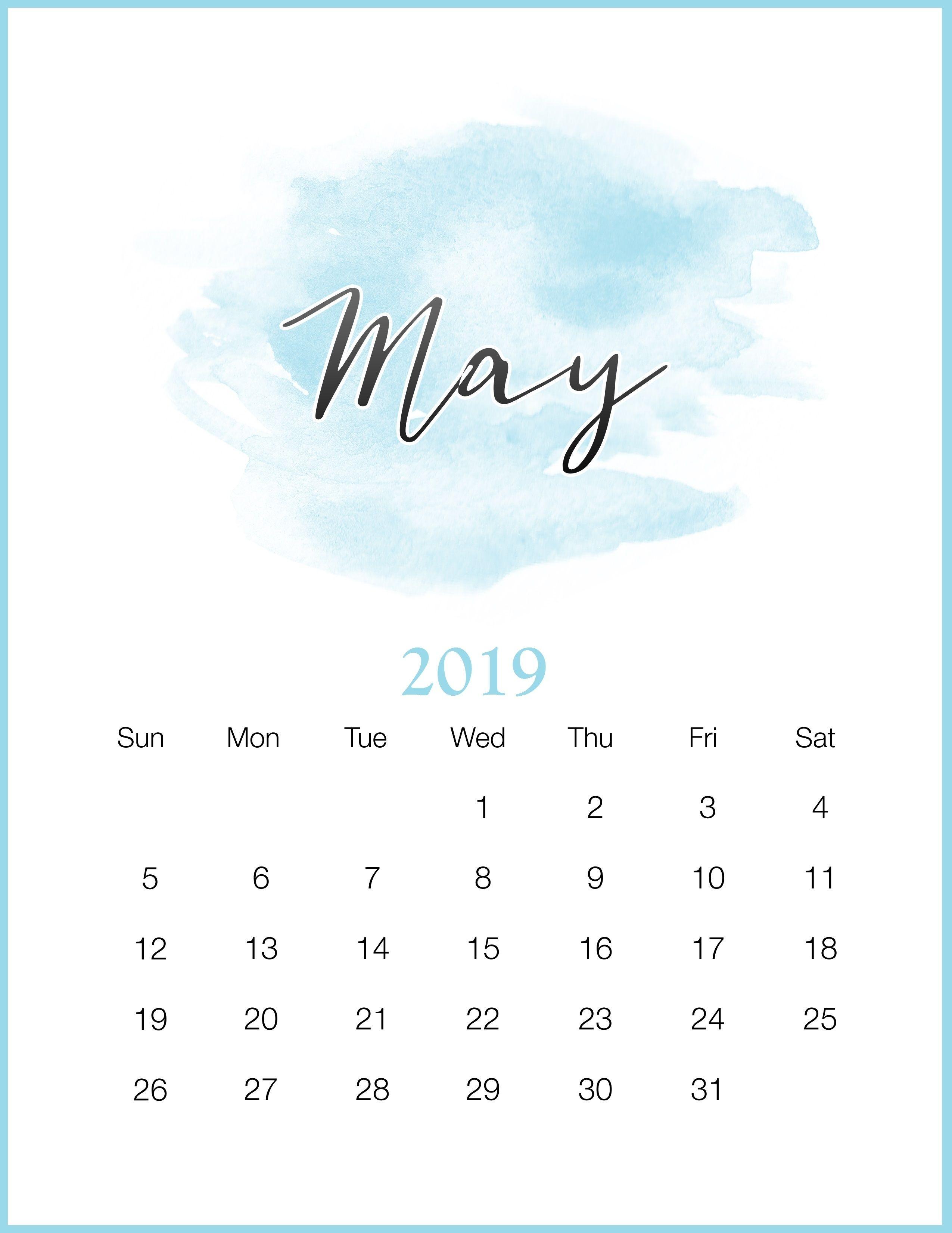 Calendario Mayo 2017 Para Imprimir Word Más Populares Watercolor 2019 Monthly Printable Calendar Calendar 2019may 2019 Of Calendario Mayo 2017 Para Imprimir Word Más Recientemente Liberado Calendario 2018 Más De 150 Plantillas Para Imprimir Y Descargar