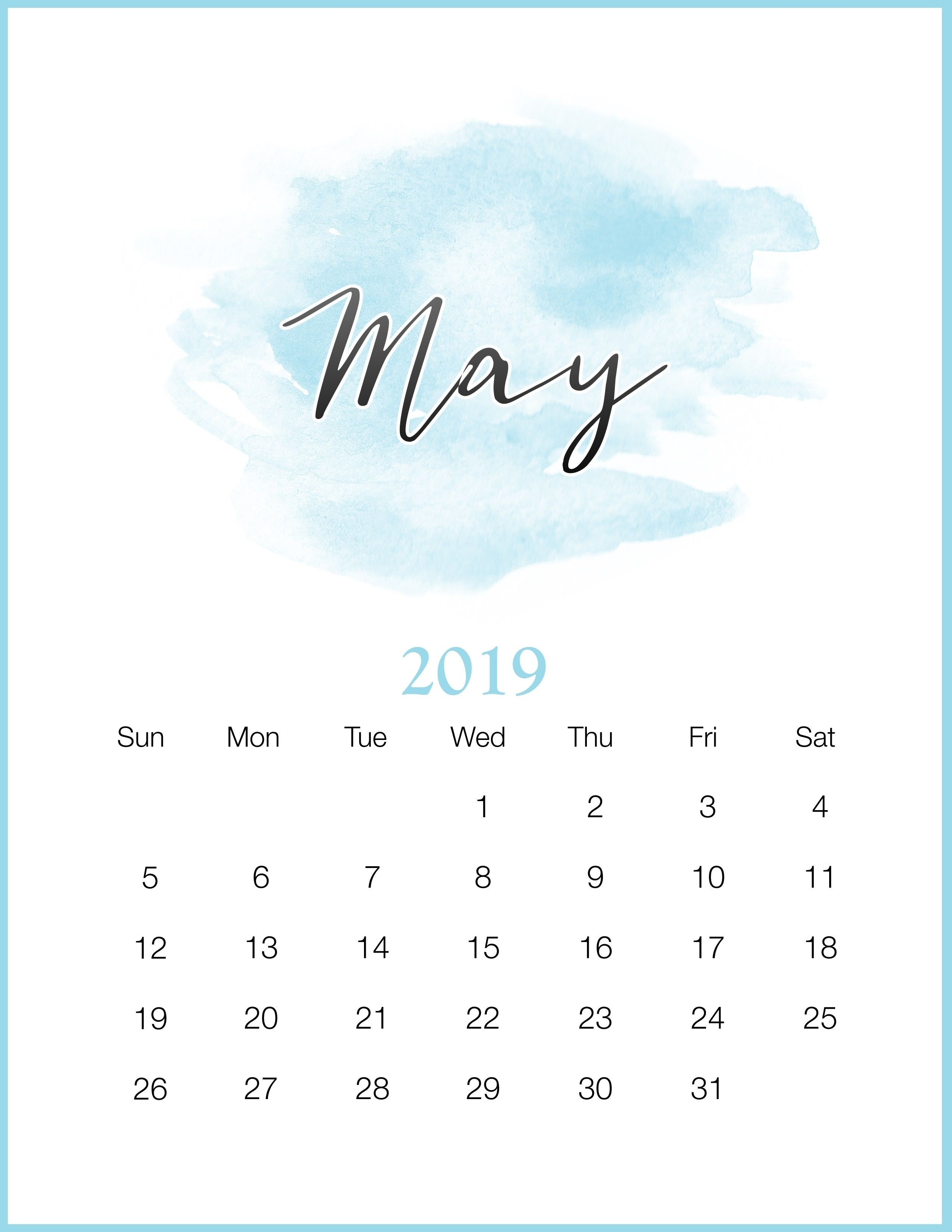 watercolor 2019 monthly printable calendar calendar 2019may 2019