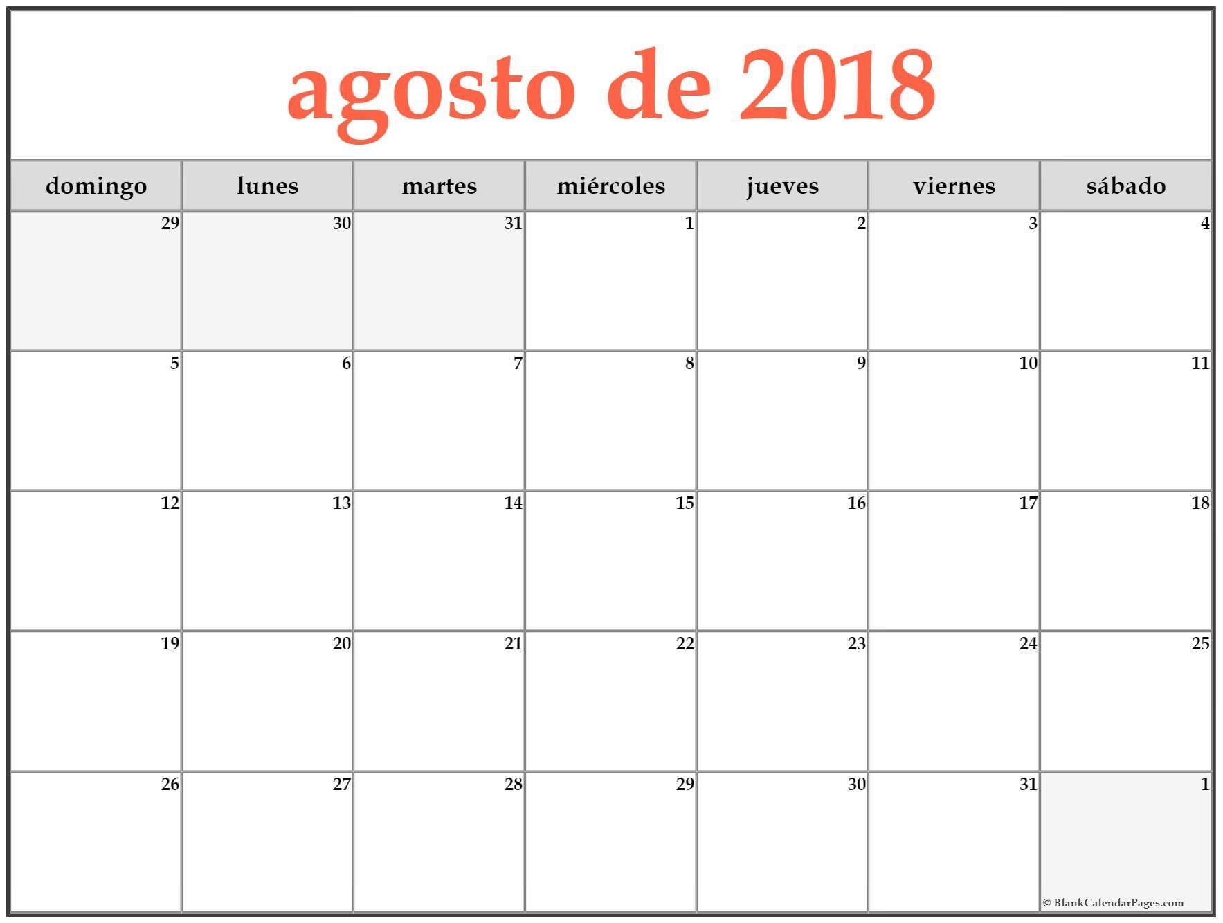 Calendario Agosto 2018 Para Imprimir