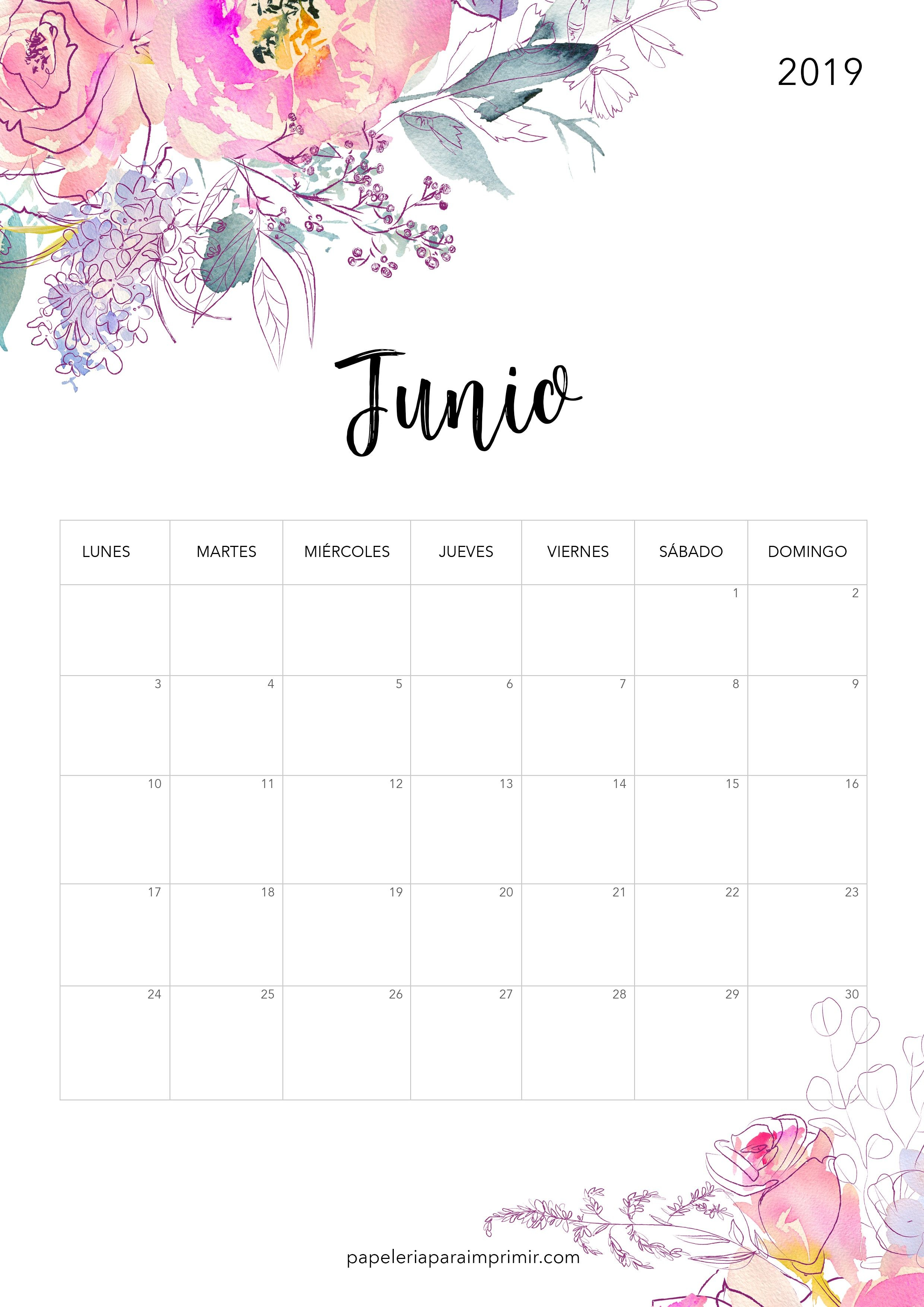 Calendario para imprimir Junio 2019 calendario imprimir junio 2019 printable