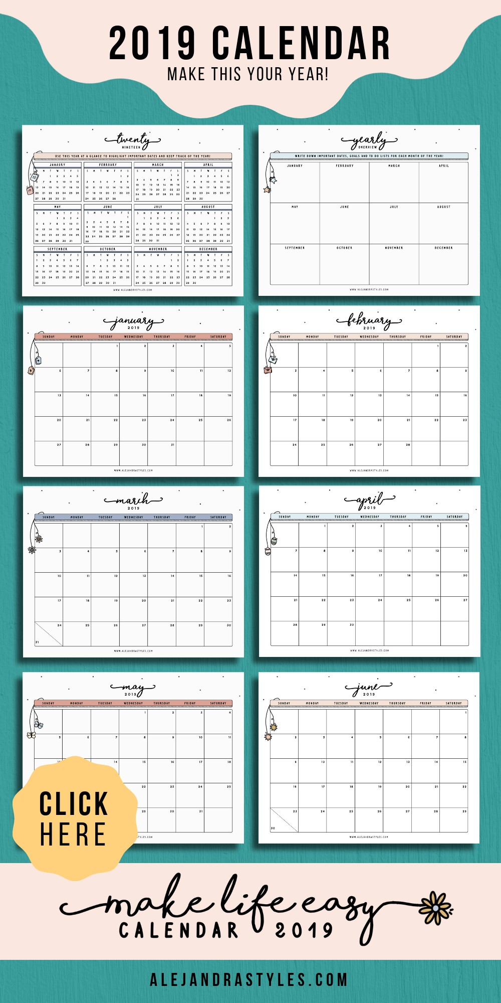 Make Life Easy Calendar 2019 This is a fun printable calendar that includes a yearly overview to help you visualize your goals and plans for the year