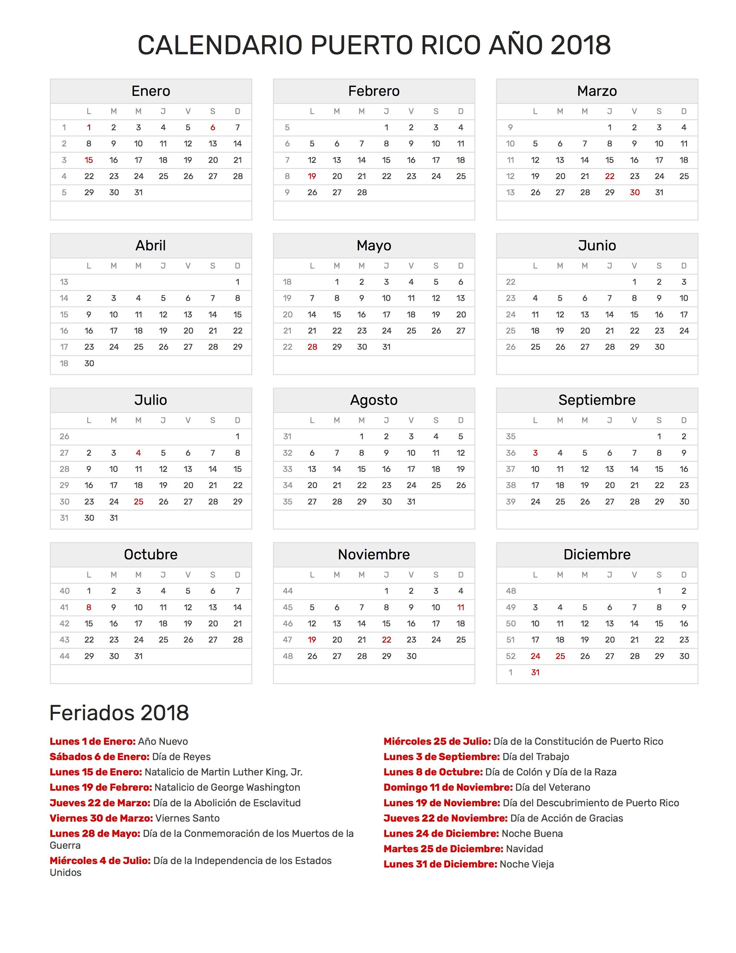 Calendario para Imprimir de Puerto Rico con feriados nacionales