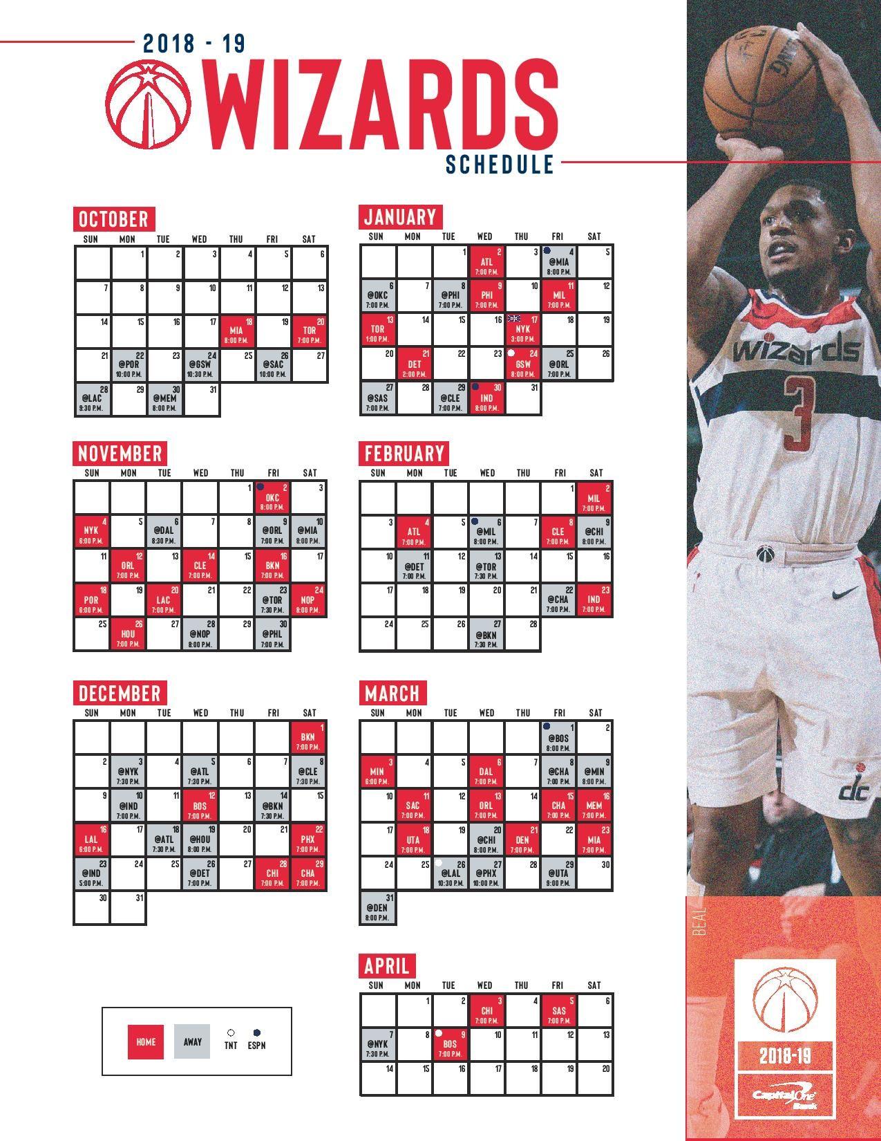 Calendario Nba 2019 Knicks Más Actual Washington Wizards Schedule Of Calendario Nba 2019 Knicks Más Populares Sportando
