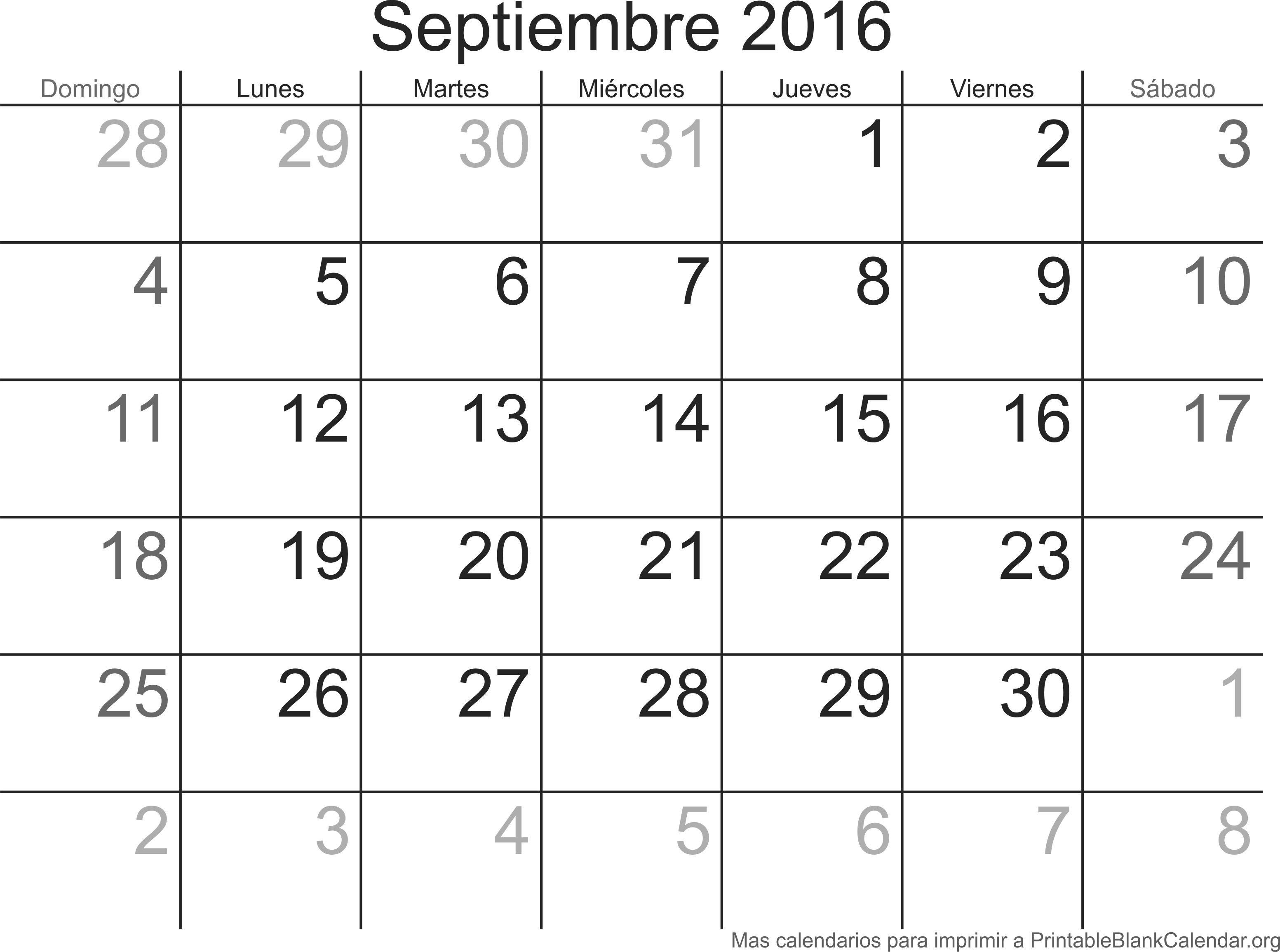 imprimir calendario septiembre 2016