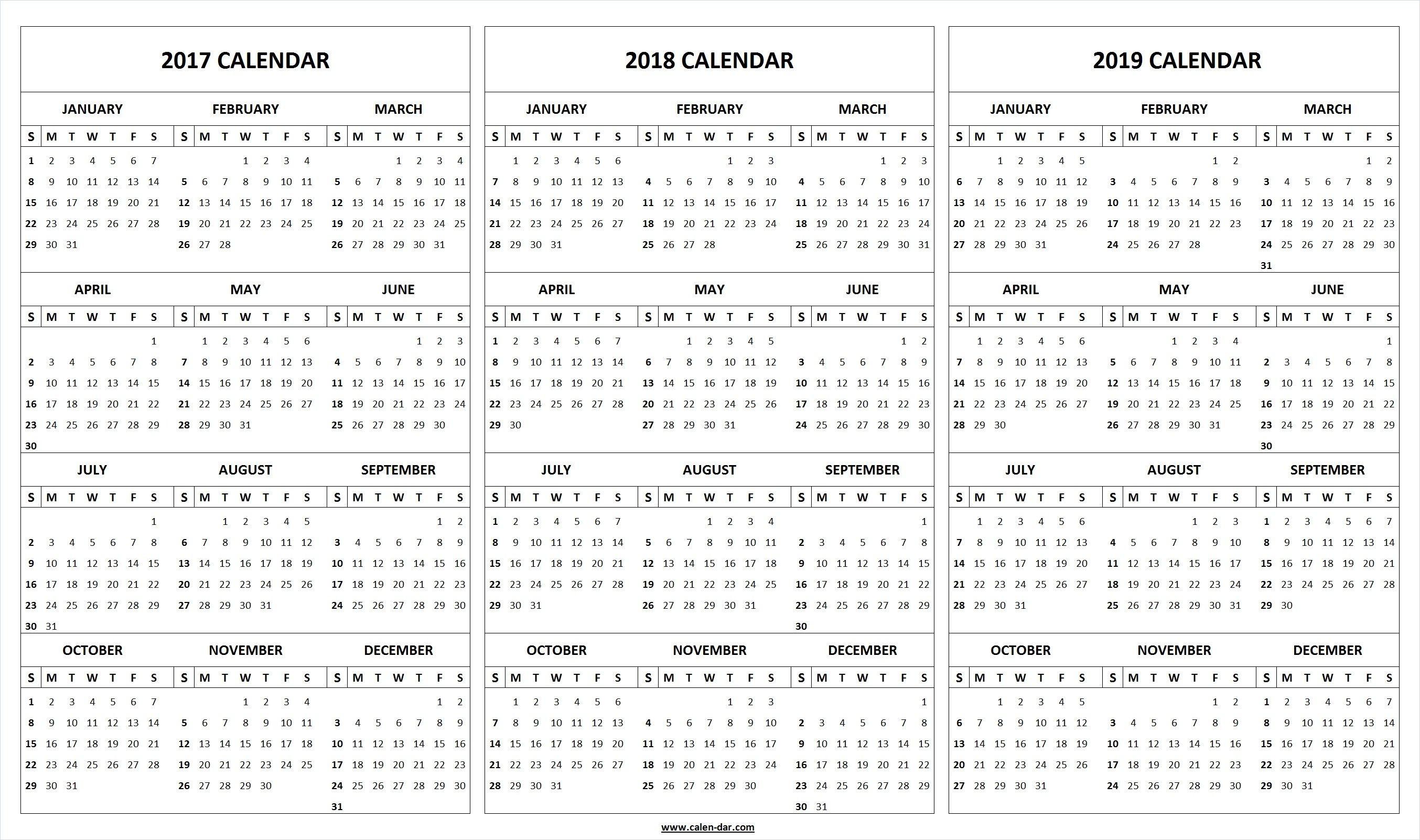 Get free blank printable 2017 2018 2019 Calendar template These editable 2017 2018 2019 Calendar