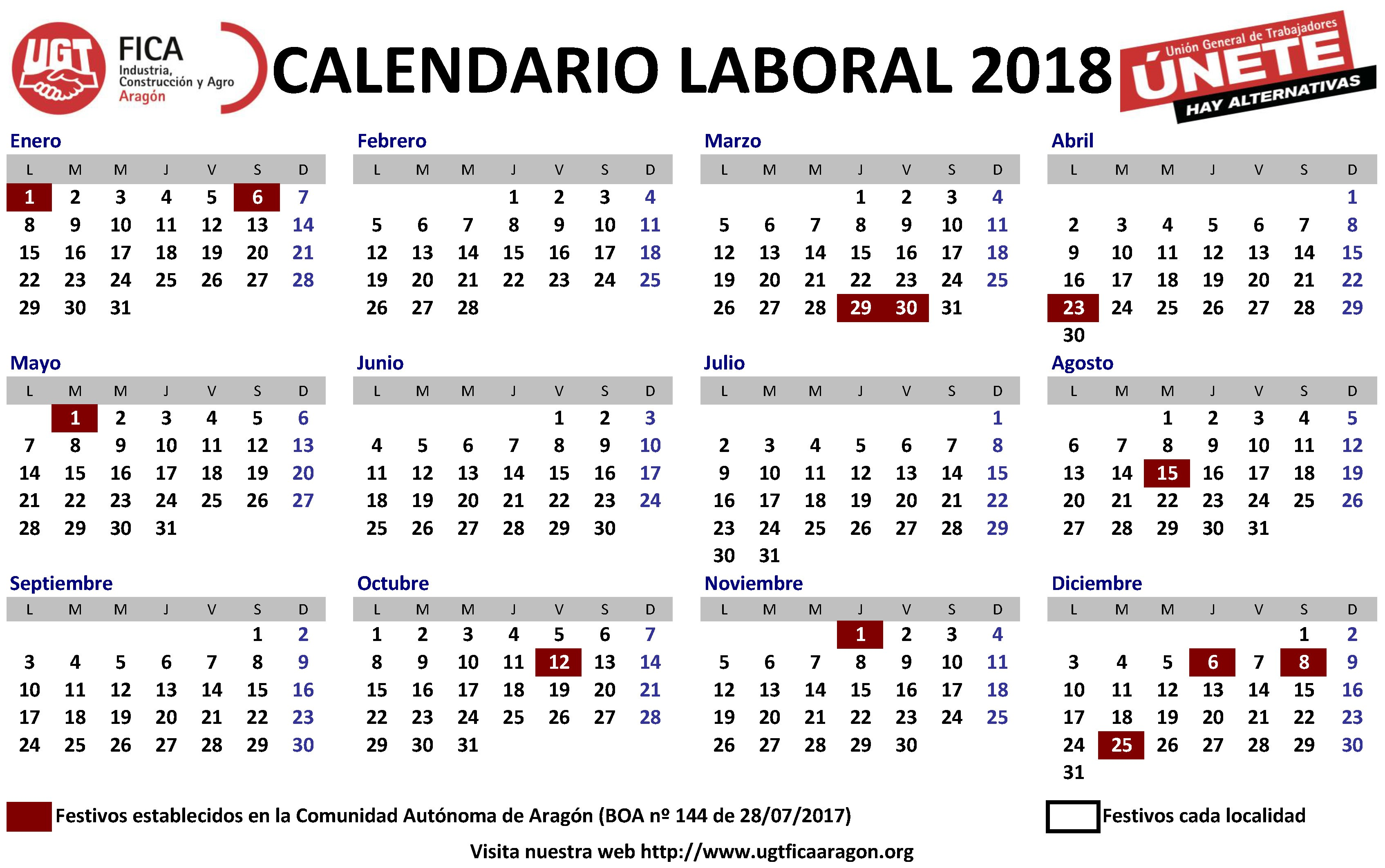 Calendario laboral 2018 plantillas para imprimir y descargar
