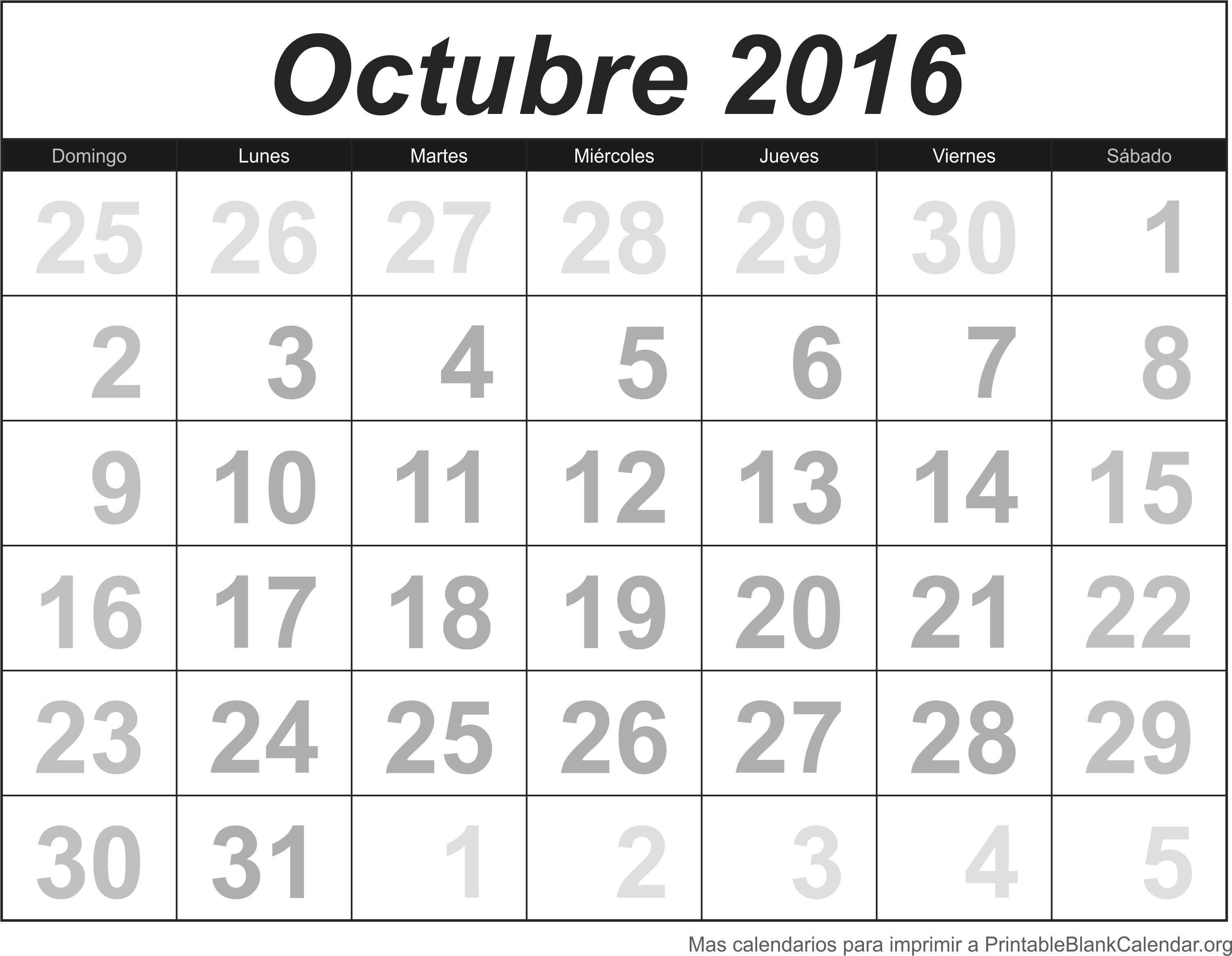 Calendario mes octubre excellent calendario octubre for Calendario lunar de octubre 2016