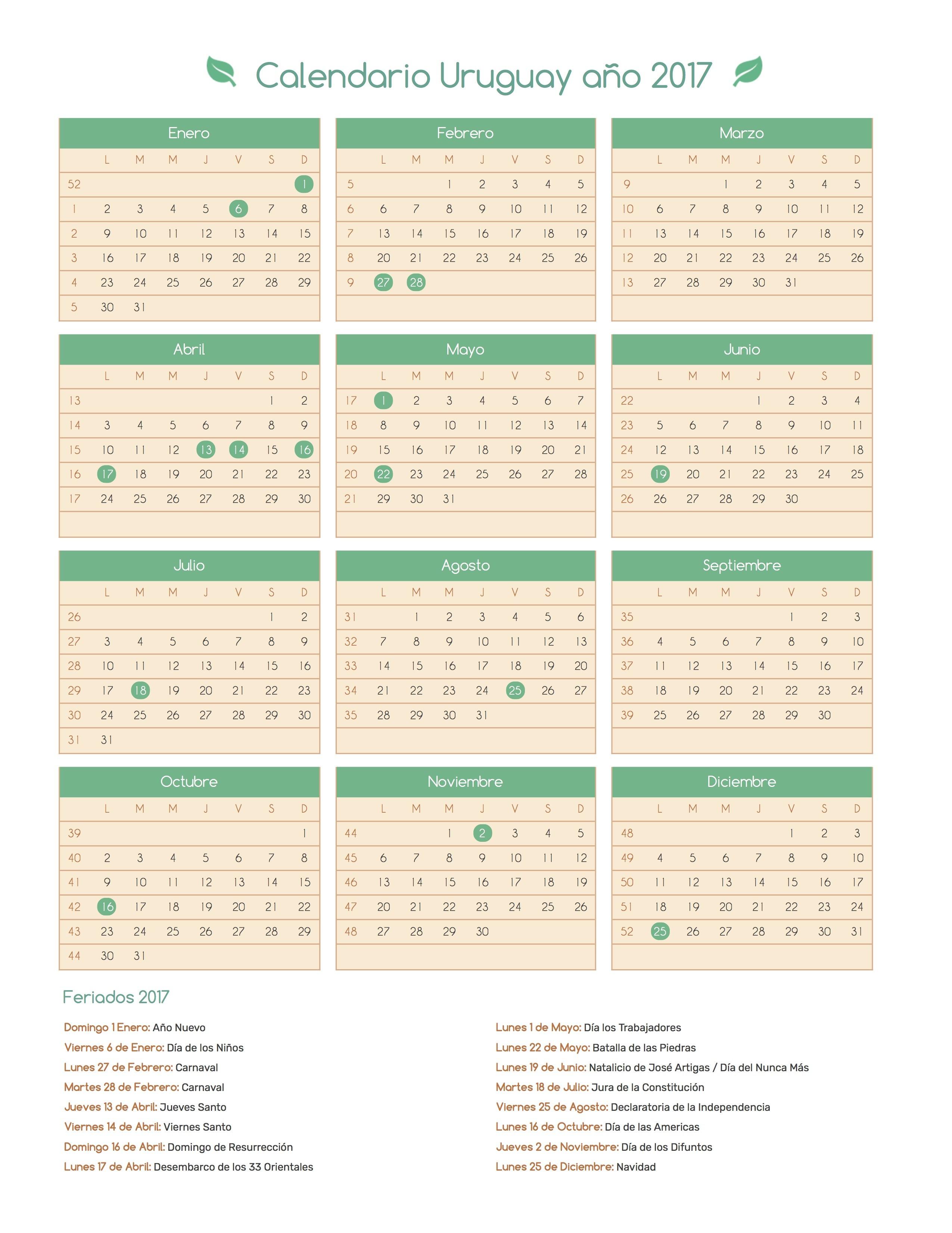 Calendario para Imprimir de Uruguay con das festivos