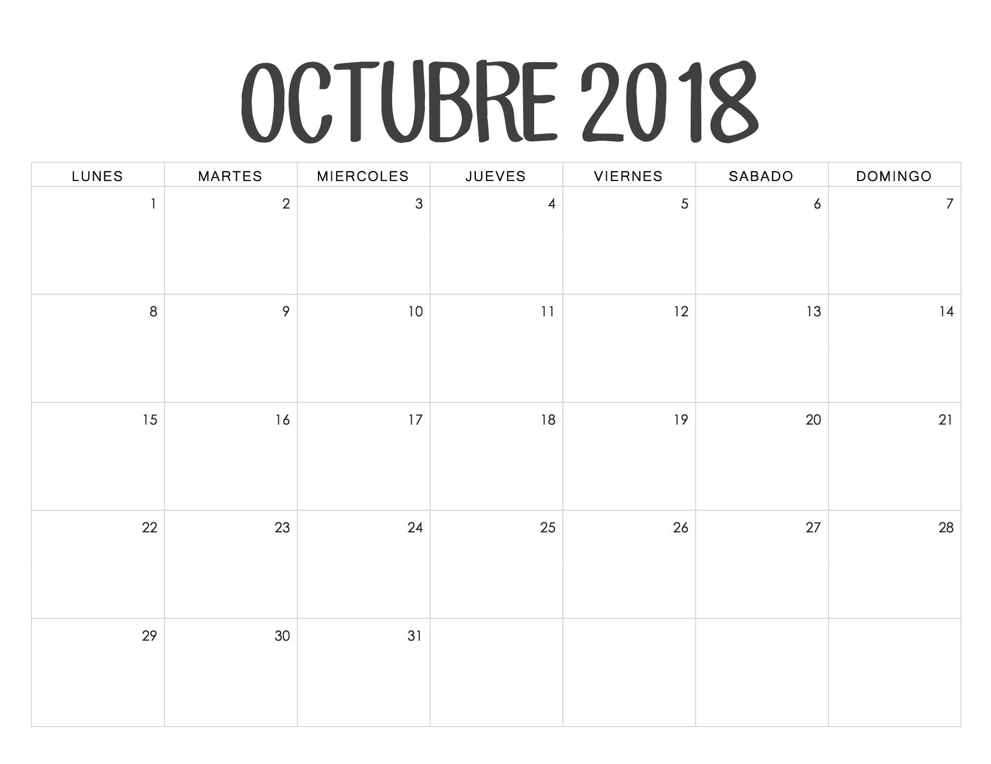 Calendario Octubre 2018 Para Imprimir