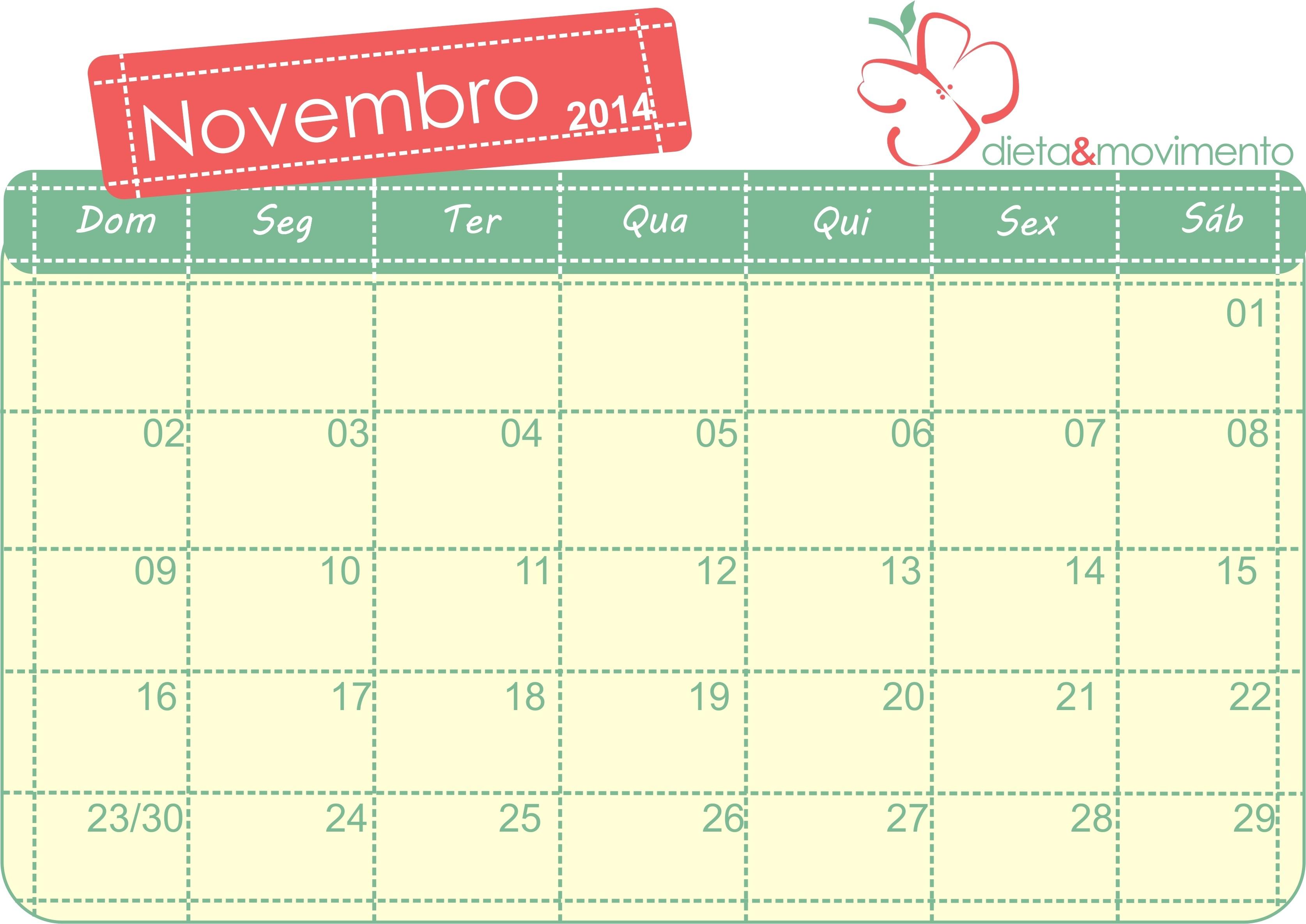 JORNAL PONTO Calendário do Mªs de Novembro para preencher e Imprimir