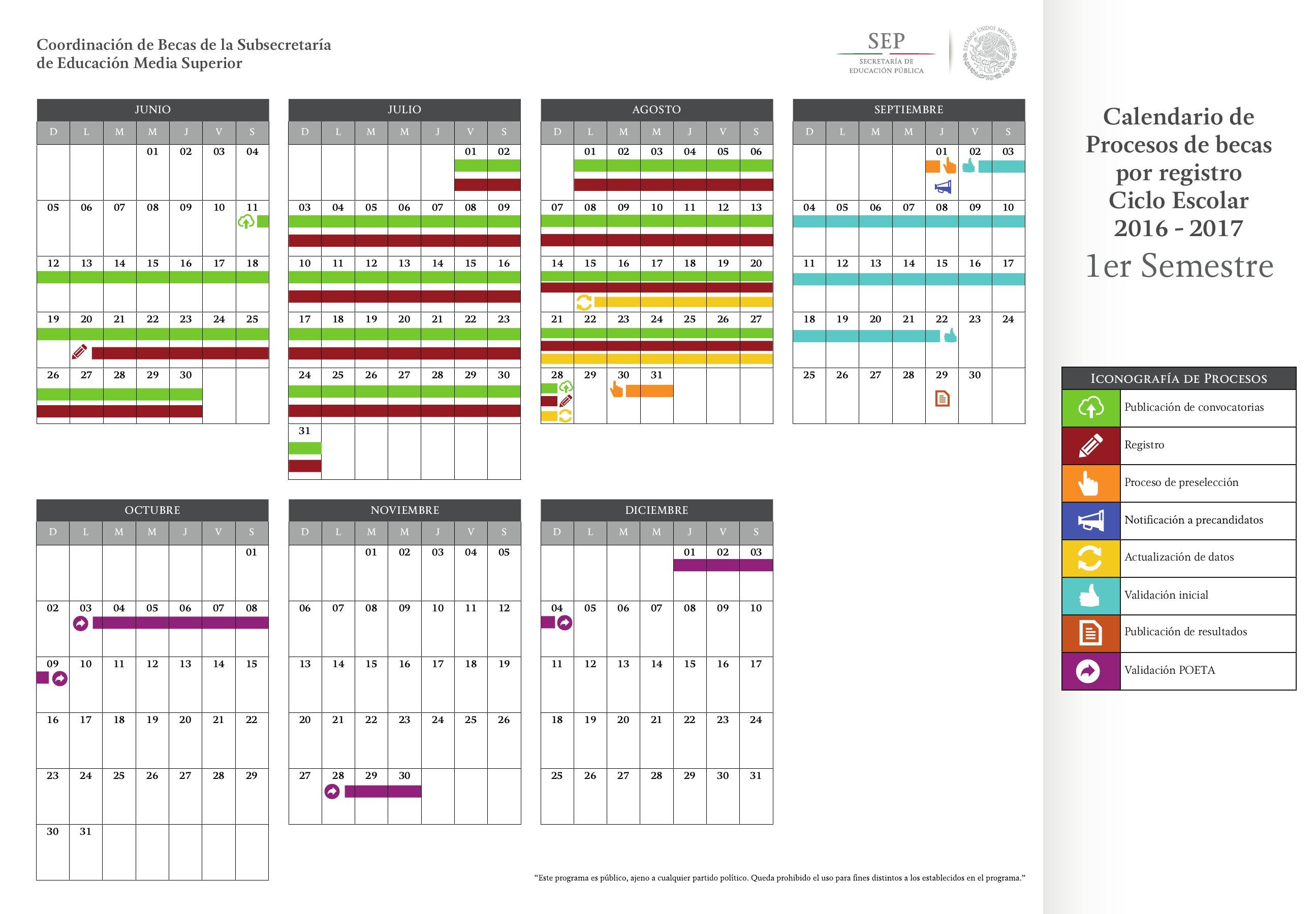 Calendario de Procesos 2016 2017