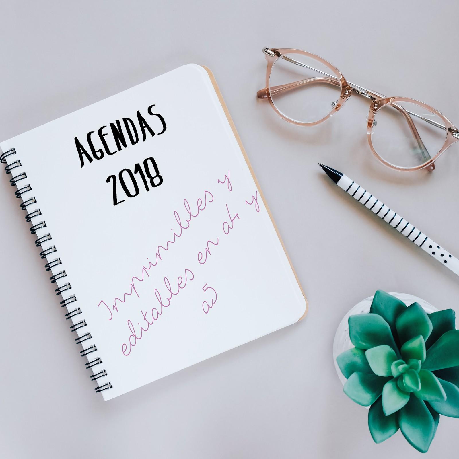 Agenda 2018 en a5 y a4 imprimible y editable my life Agendas 2017 originales
