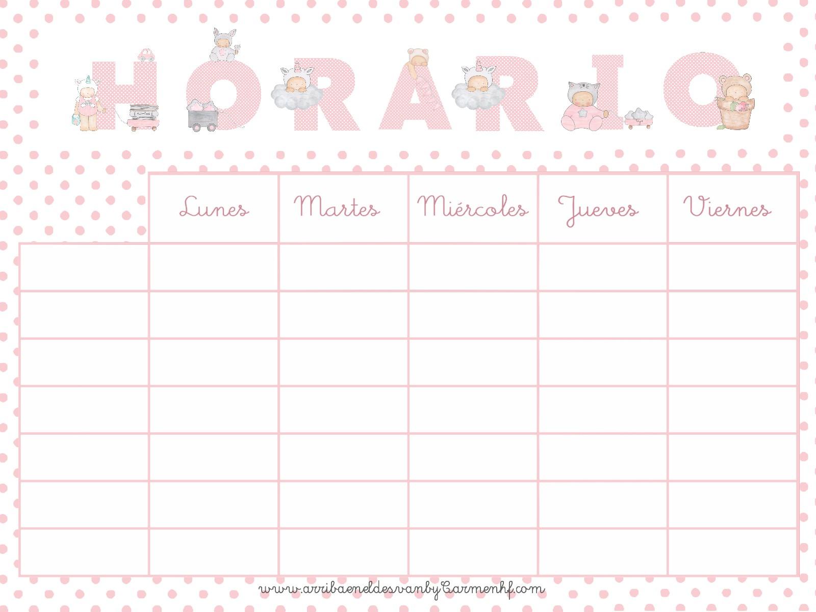 Free printable HORARIOS ESCOLARES GRATIS PARA IMPRIMIR en 2 colores rosa y