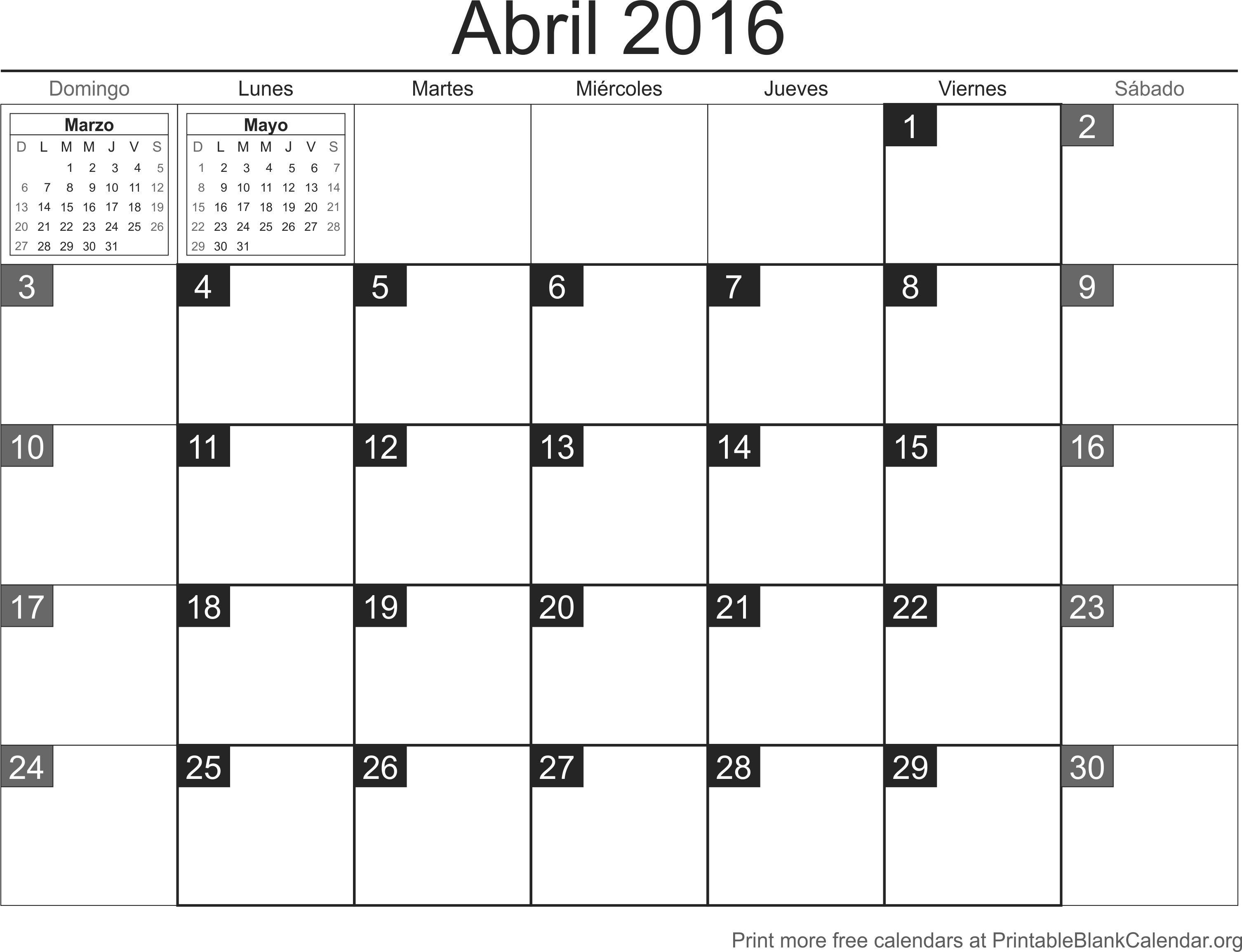 calendario para imprimir abril 2016