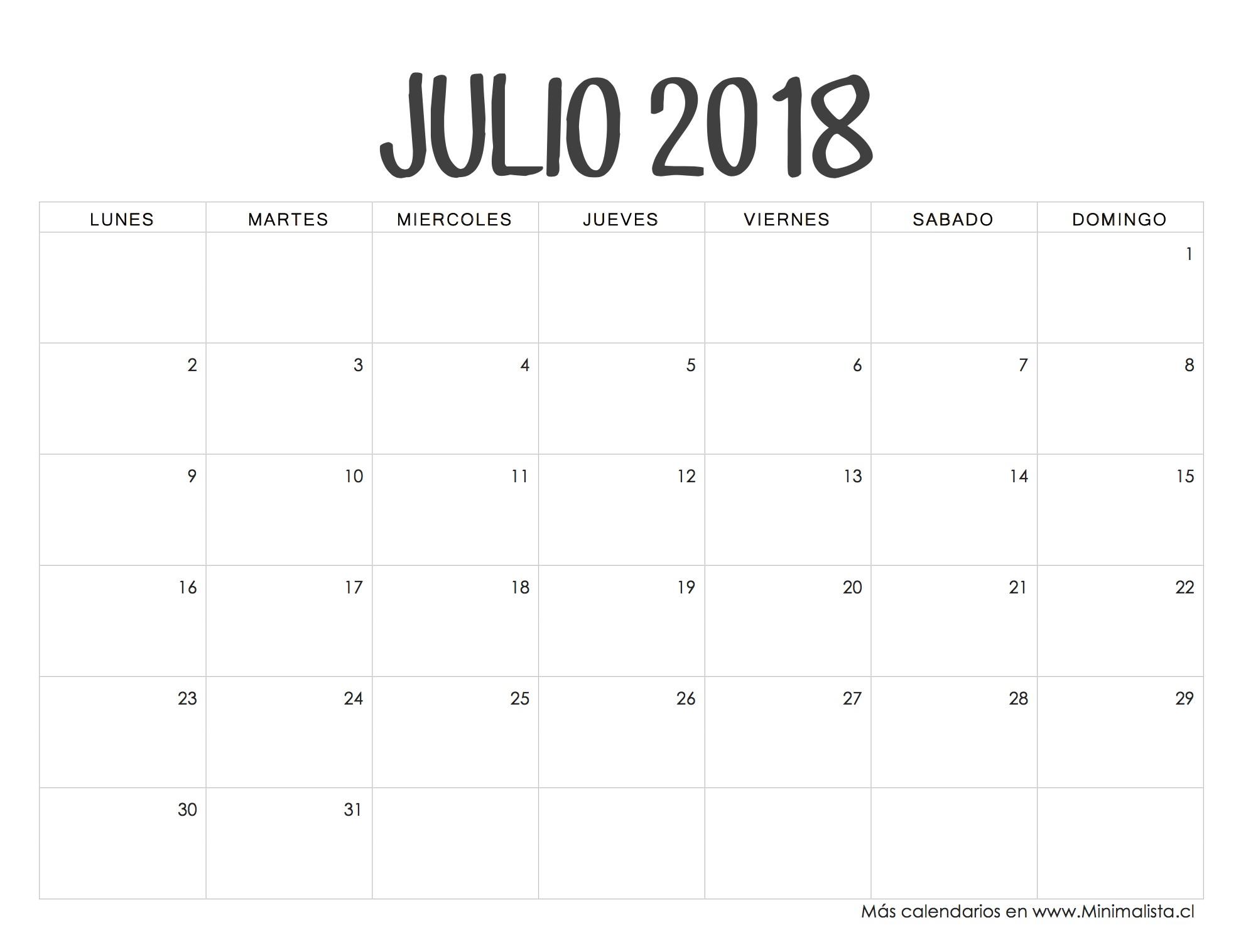 Calendarios 2018 para Imprimir Minimalista Calendario julio 2019