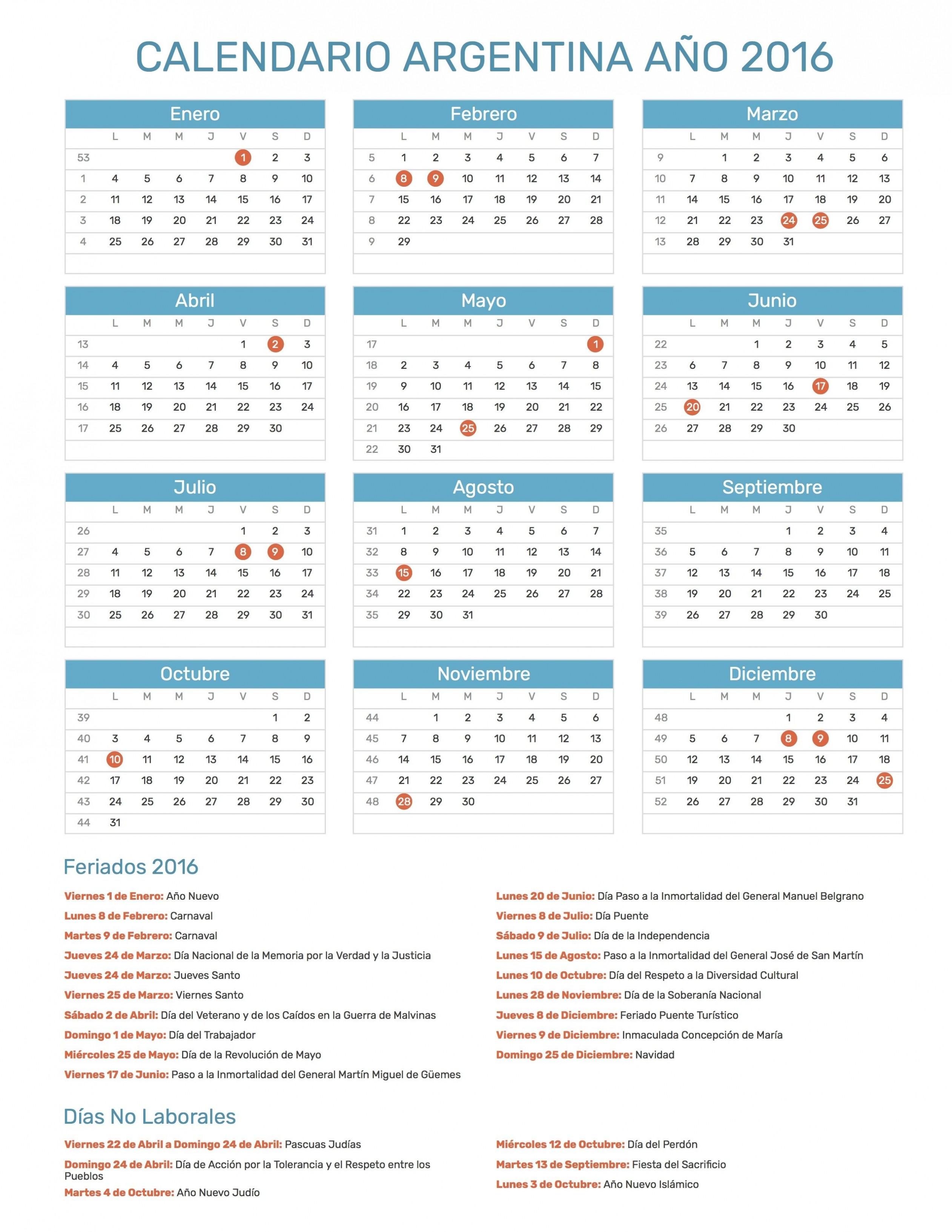 Image de Calendario De Argentina Con Feriados Nacionales A±o 2016 Incluye – Calendario