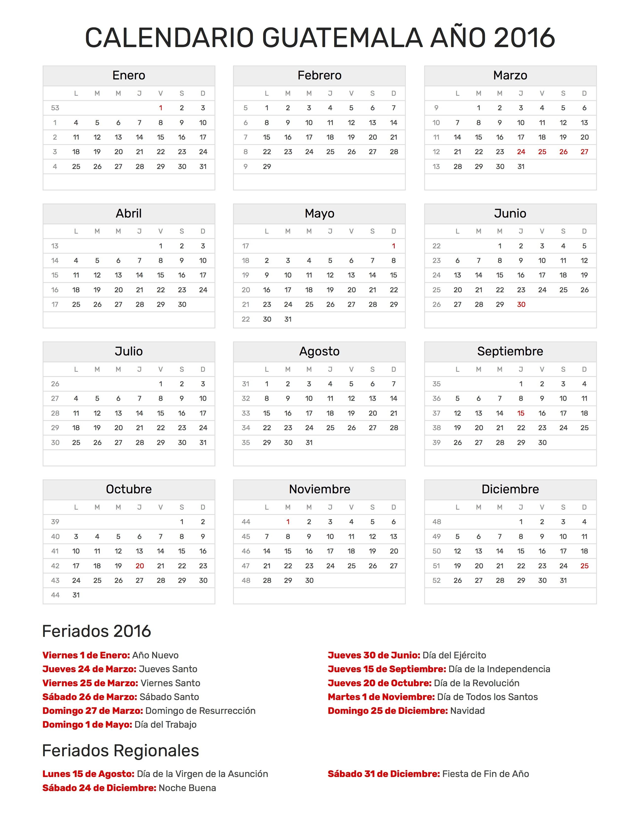 Calendario Guatemala A±o 2016