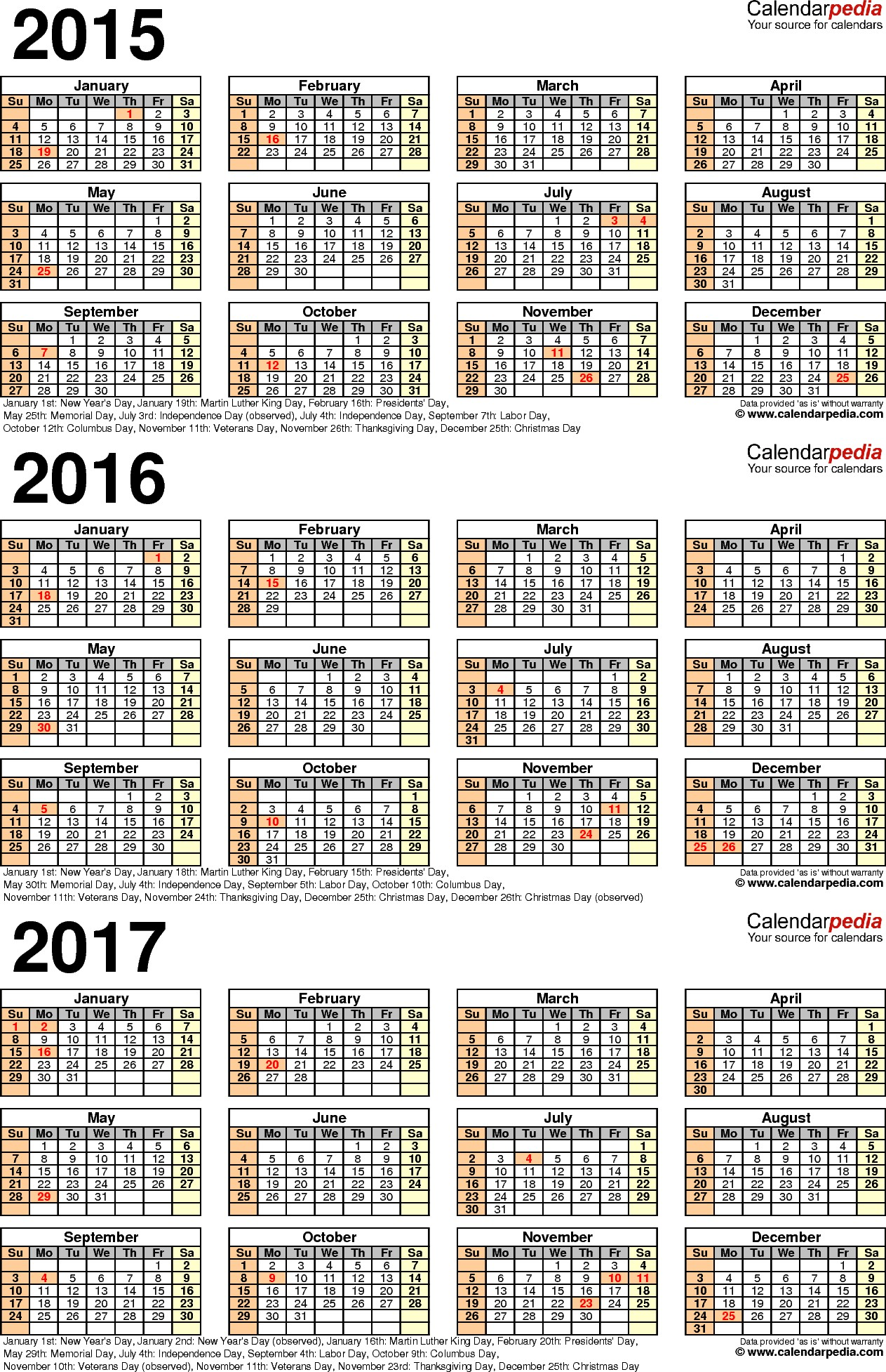 Template 4 PDF template for three year calendar 2015 2017 portrait orientation