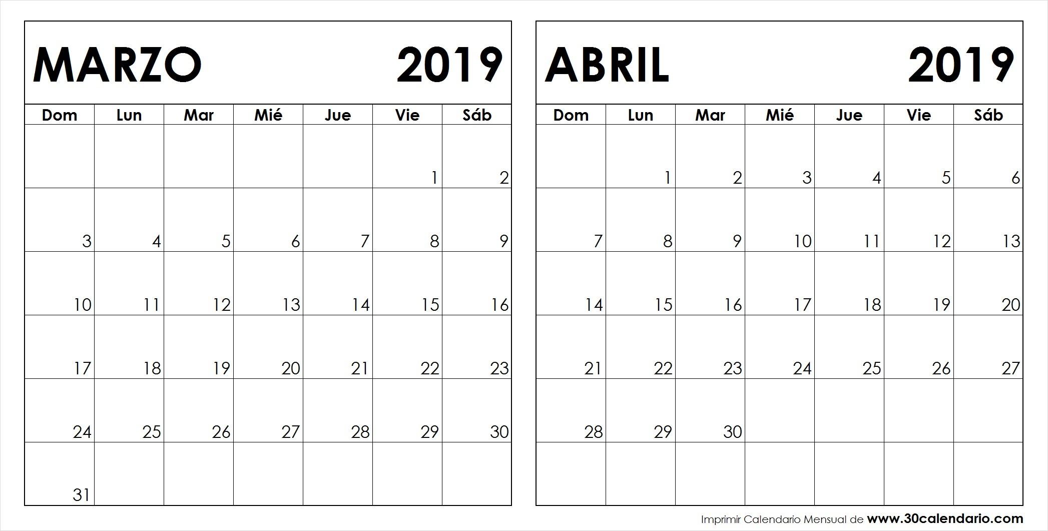Calendario Marzo Abril 2019 Para Imprimir