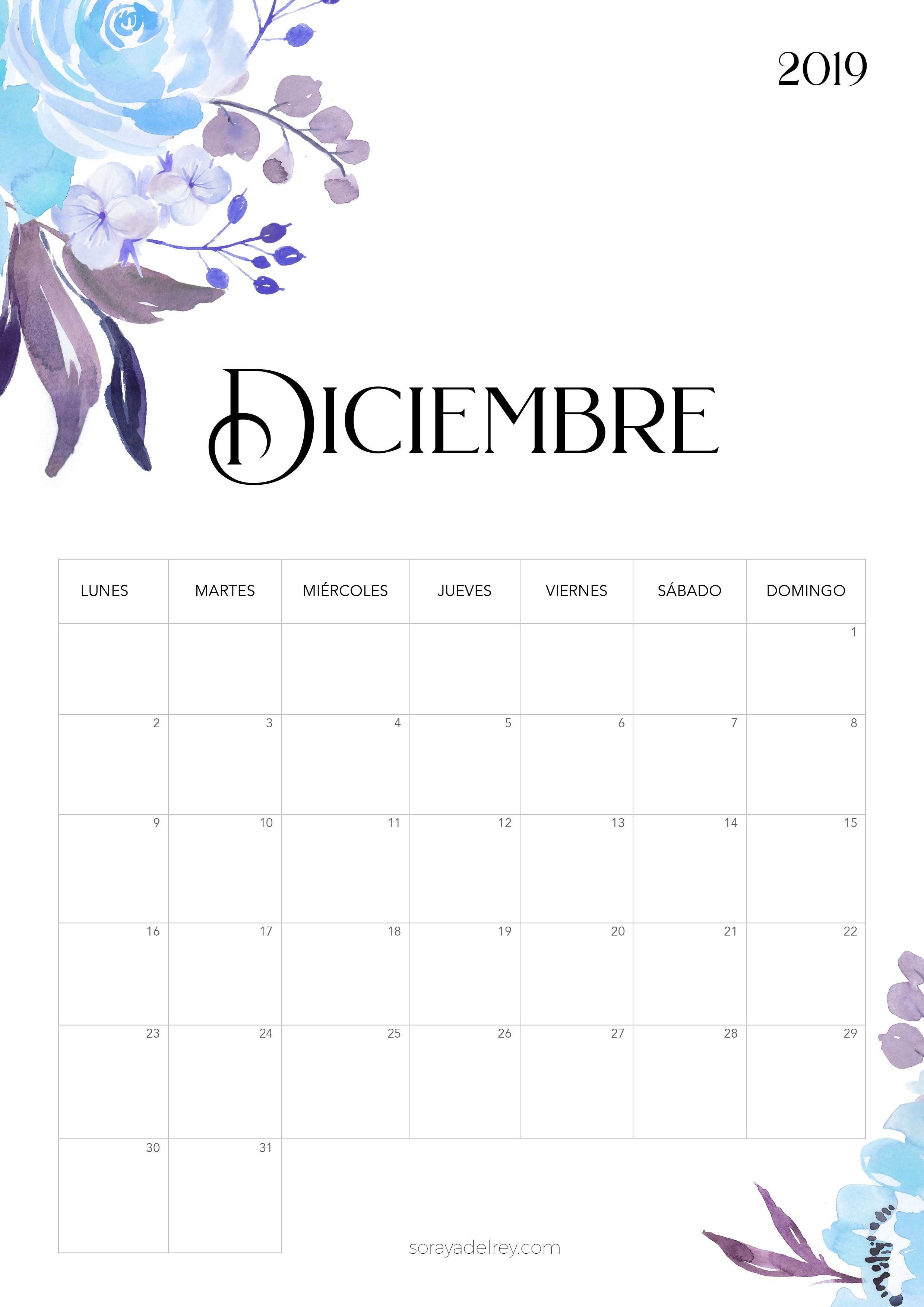 Calendario para imprimir diciembre 2019 freebie calendario calendar diciembre flowers