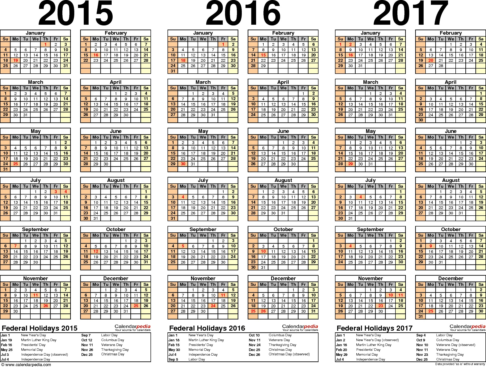 Template 2 PDF template for three year calendar 2015 2017 landscape orientation