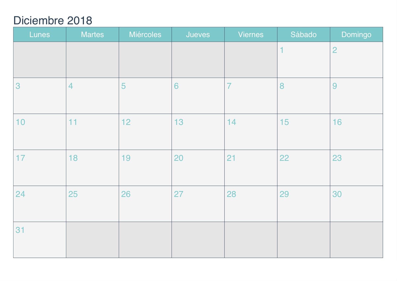 Calendario Diciembre 2018 Para Imprimir Image
