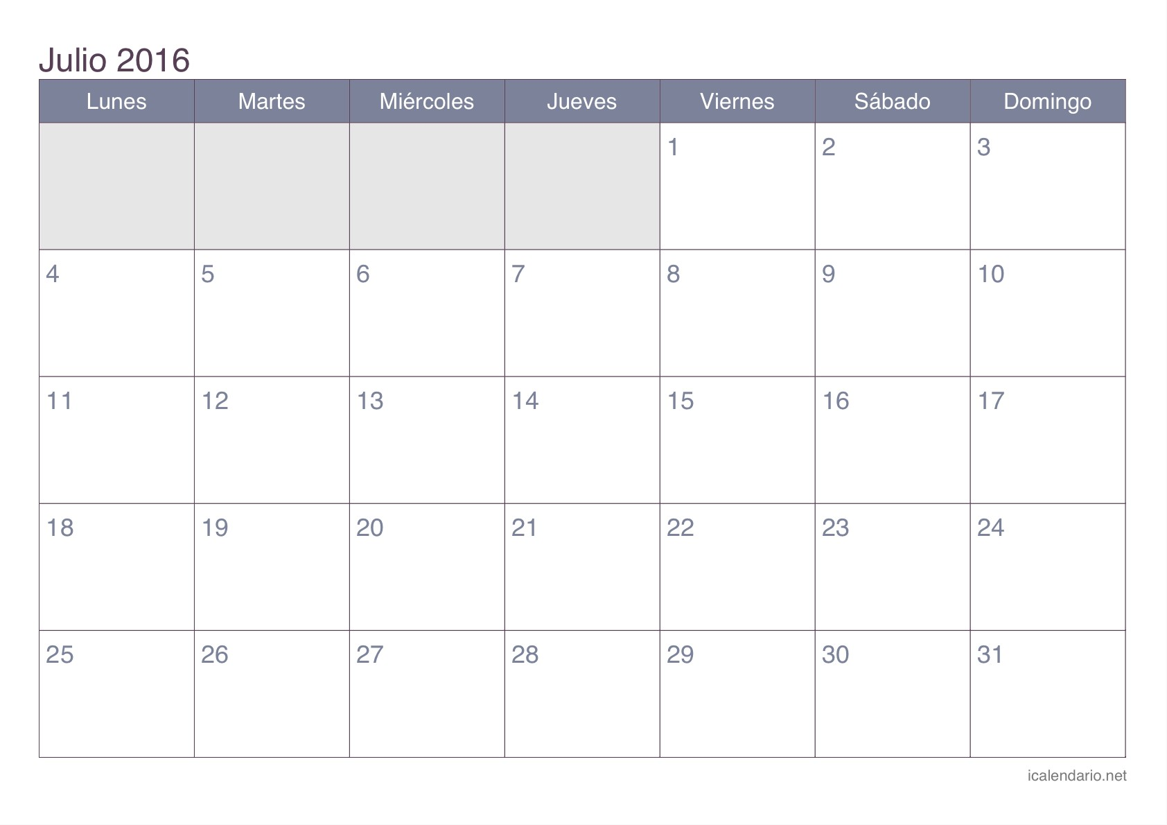Calendario julio 2016 para imprimir for Calendario lunar de julio 2016