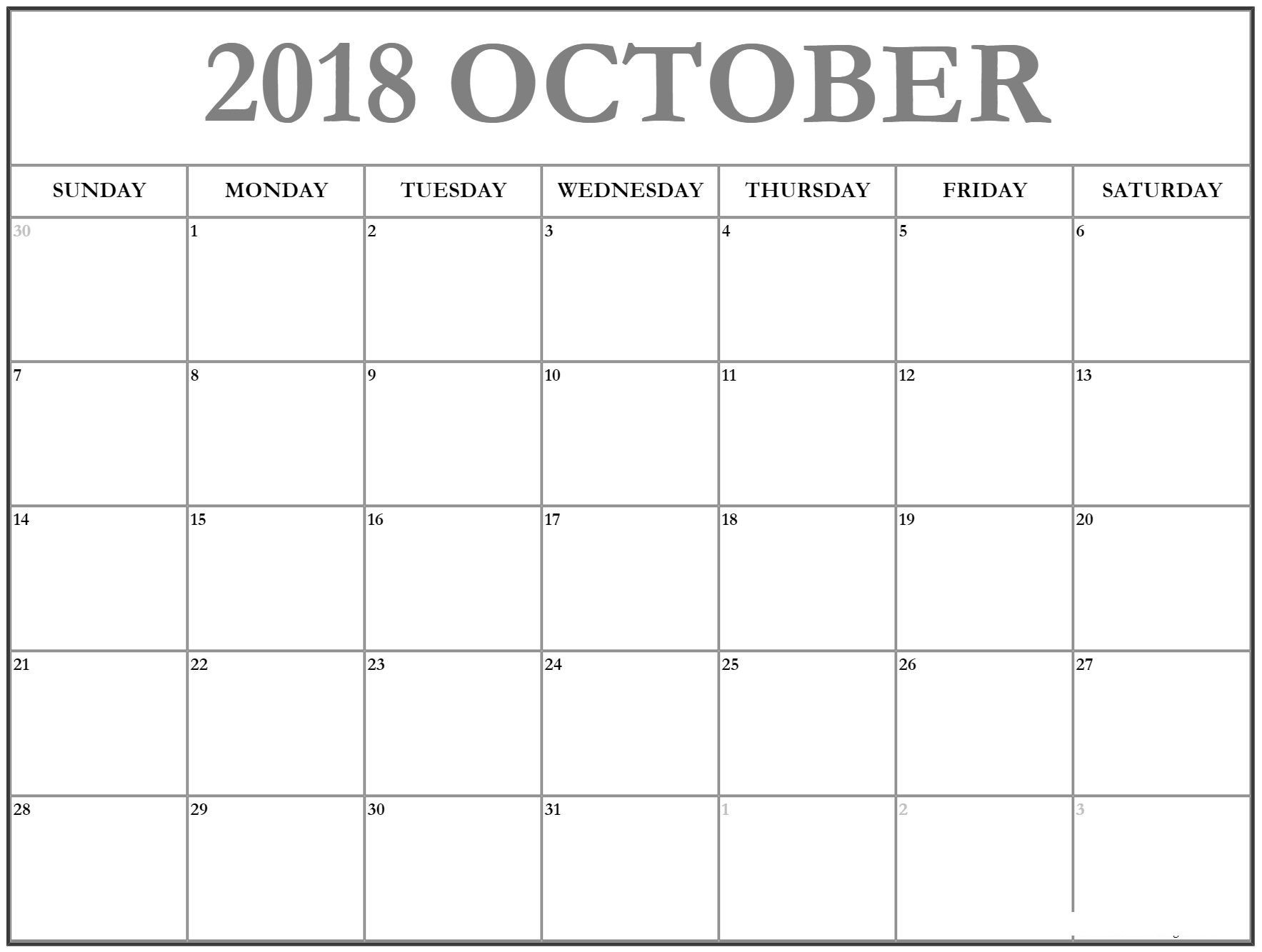 2018 October Time Table Calendar October 2018 Calendar