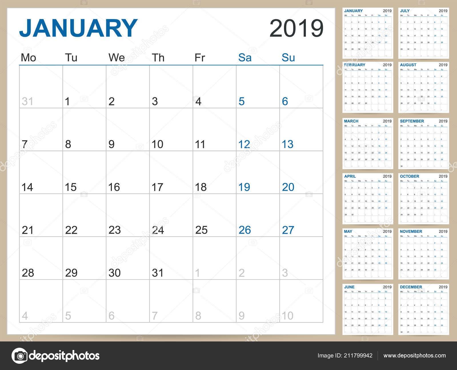 Inglés Planificaci³n Calendario 2019 Calendario Inglés Plantilla Para A±o 2019 — Archivo Imágenes Vectoriales
