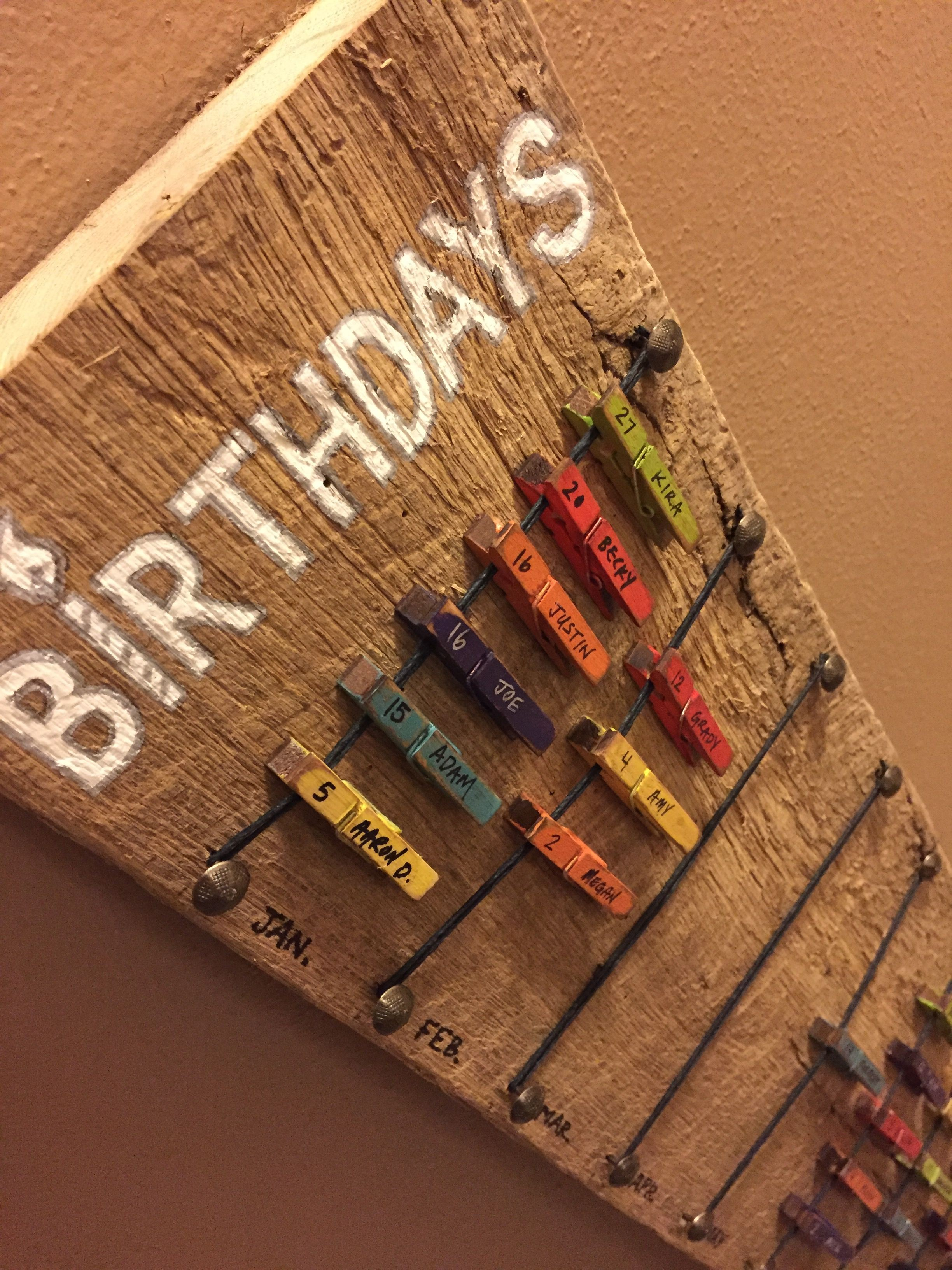 Birthday calendar with moveable mini clothespins