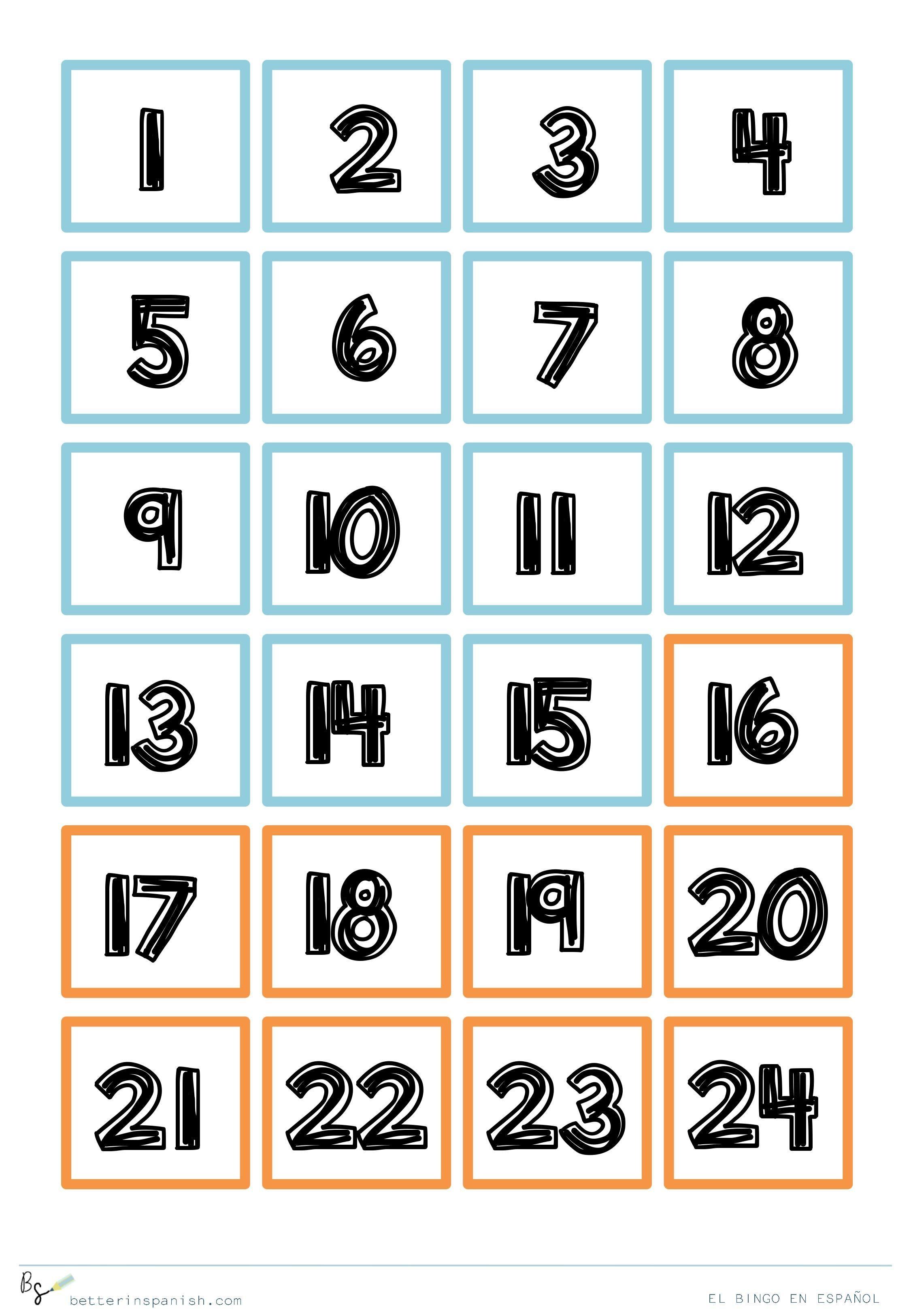 Ficha de nºmeros para jugar al bingo en espa±ol
