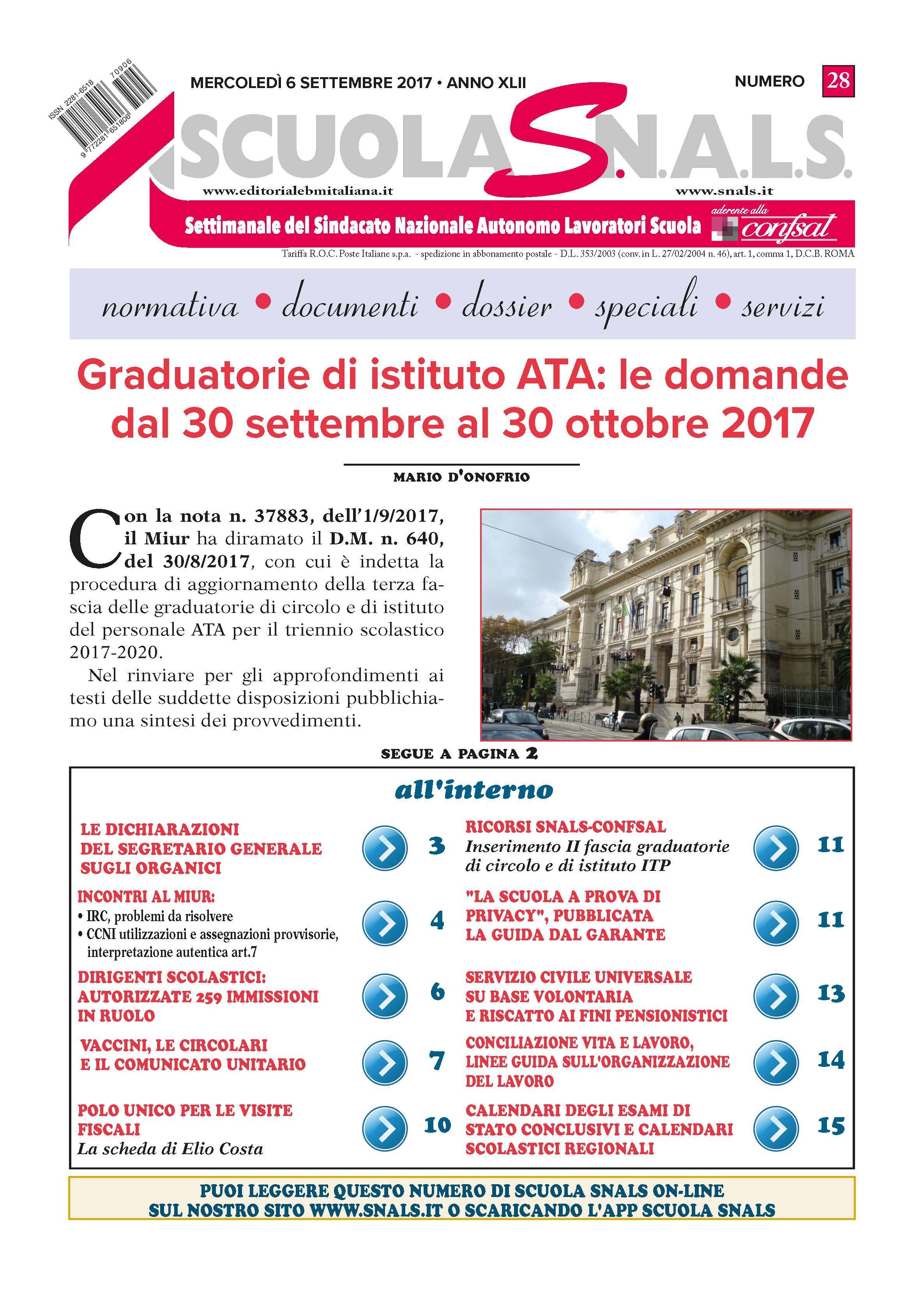 Graduatorie di istituto ATA le domande dal 30 settembre al 30 ottobre 2017