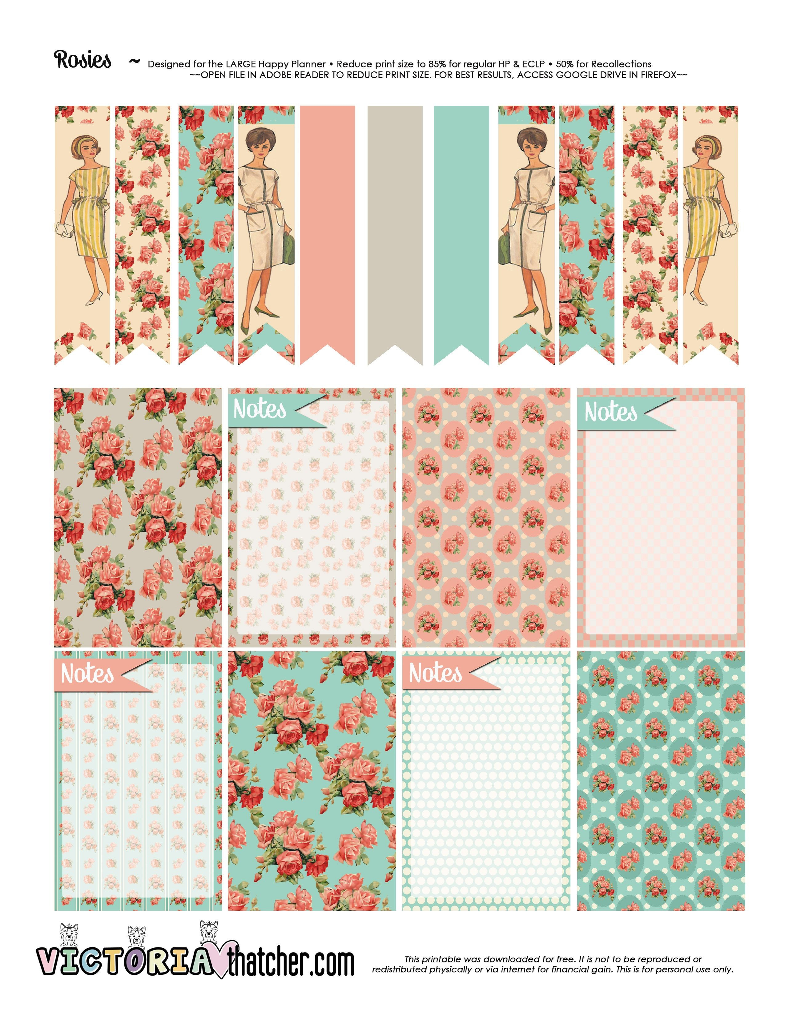 FREE Rosies Planner Printable BY Victoria Thatcher Agenda Para Planificaci³n Calendario 2017 Etiquetas Para
