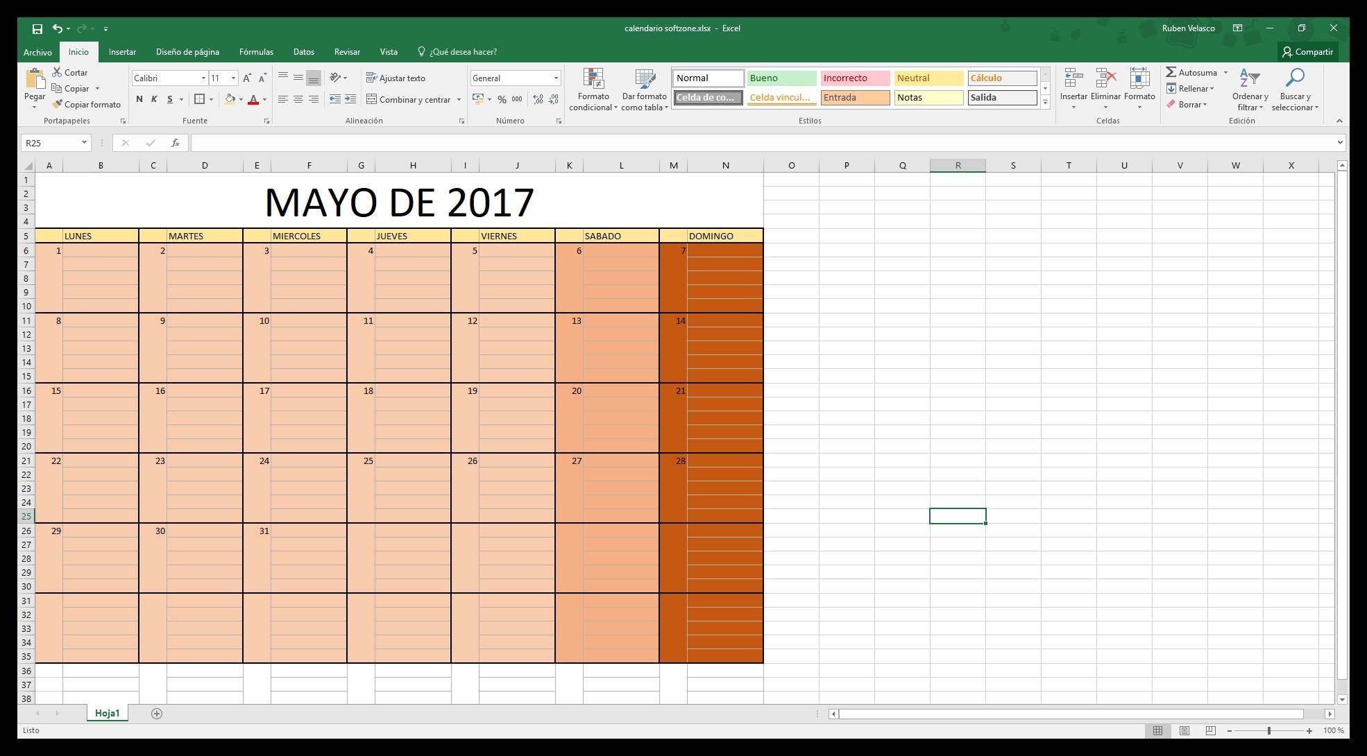 Hacer un calendario en Excel desde cero Numeros 2
