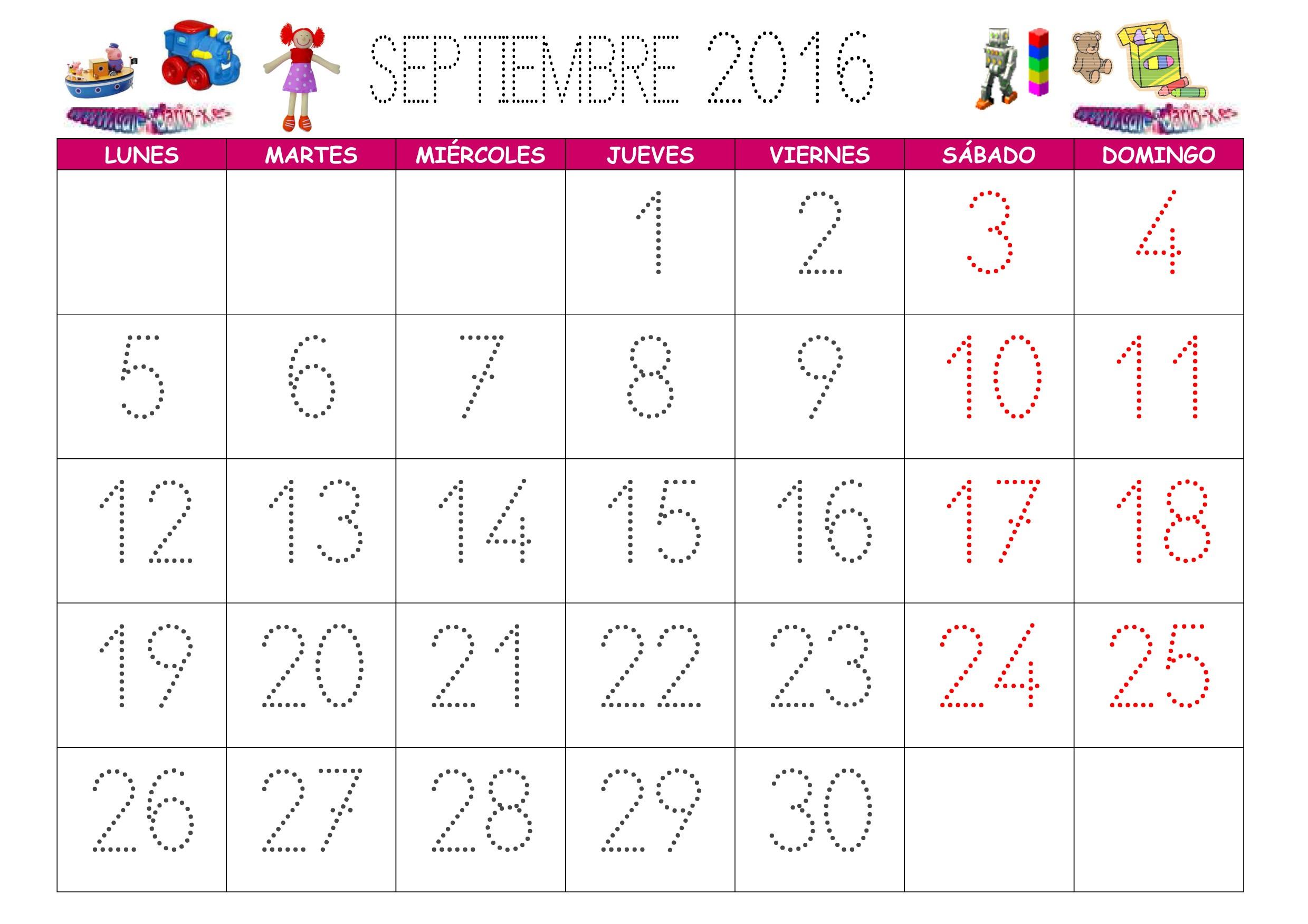 calendario para imprimir septiembre 2016 Calendarios Para Imprimir