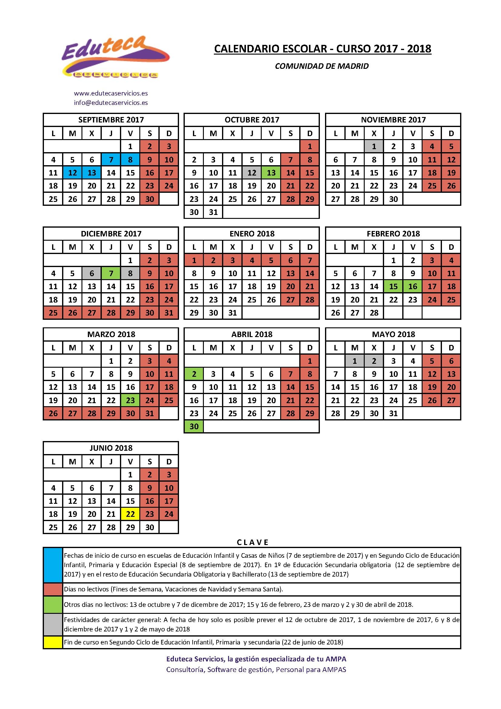 """Calendario escolar 2017 2018 """""""