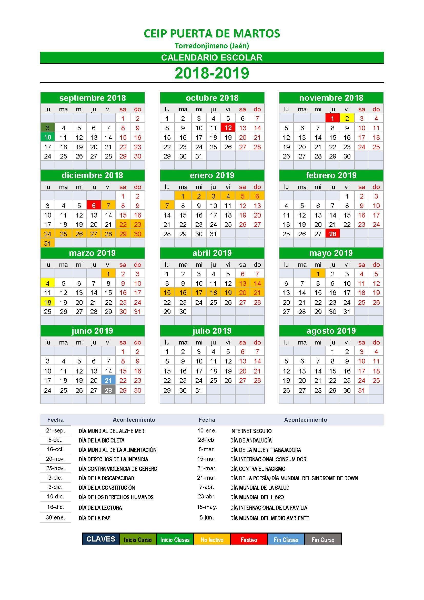 Calendario Wscolar 2019 Más Arriba-a-fecha Calendario Escolar 2018 2019 Of Calendario Wscolar 2019 Más Recientes Calendario Académico 2018 2019 Consmucan