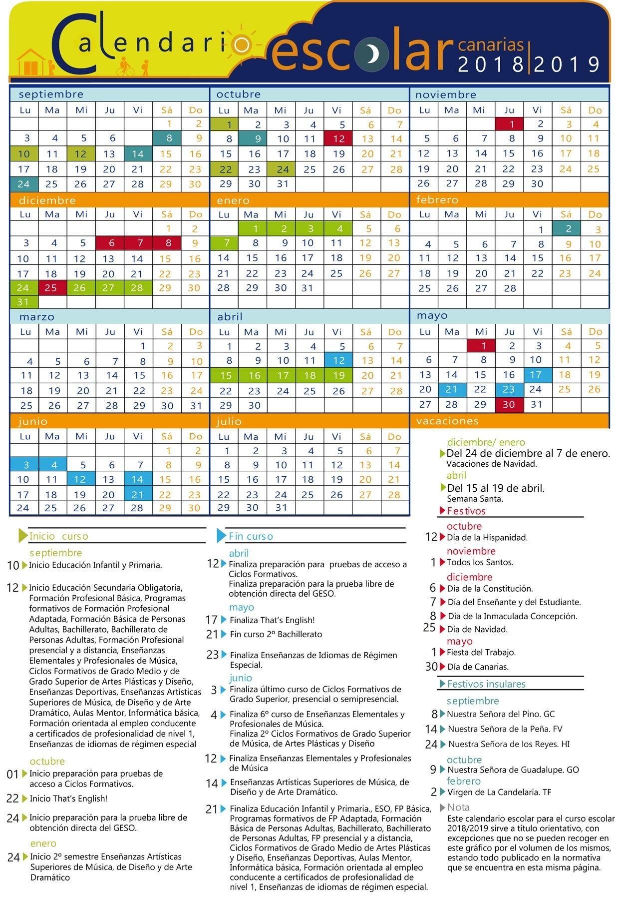 Calendario Académico 2018 2019 consmucan