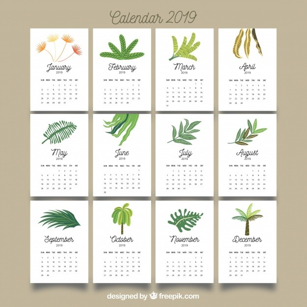 bonito calendario 2019 con hojas coloridas
