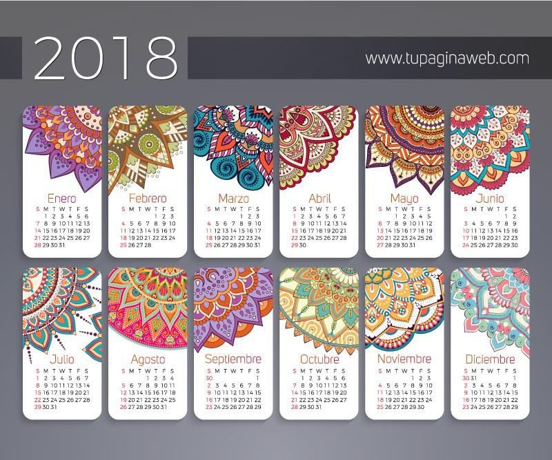 calendario 2018 en espanol con mandalas