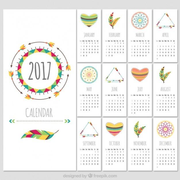 plantilla de bonito calendario 2017 en estilo boho