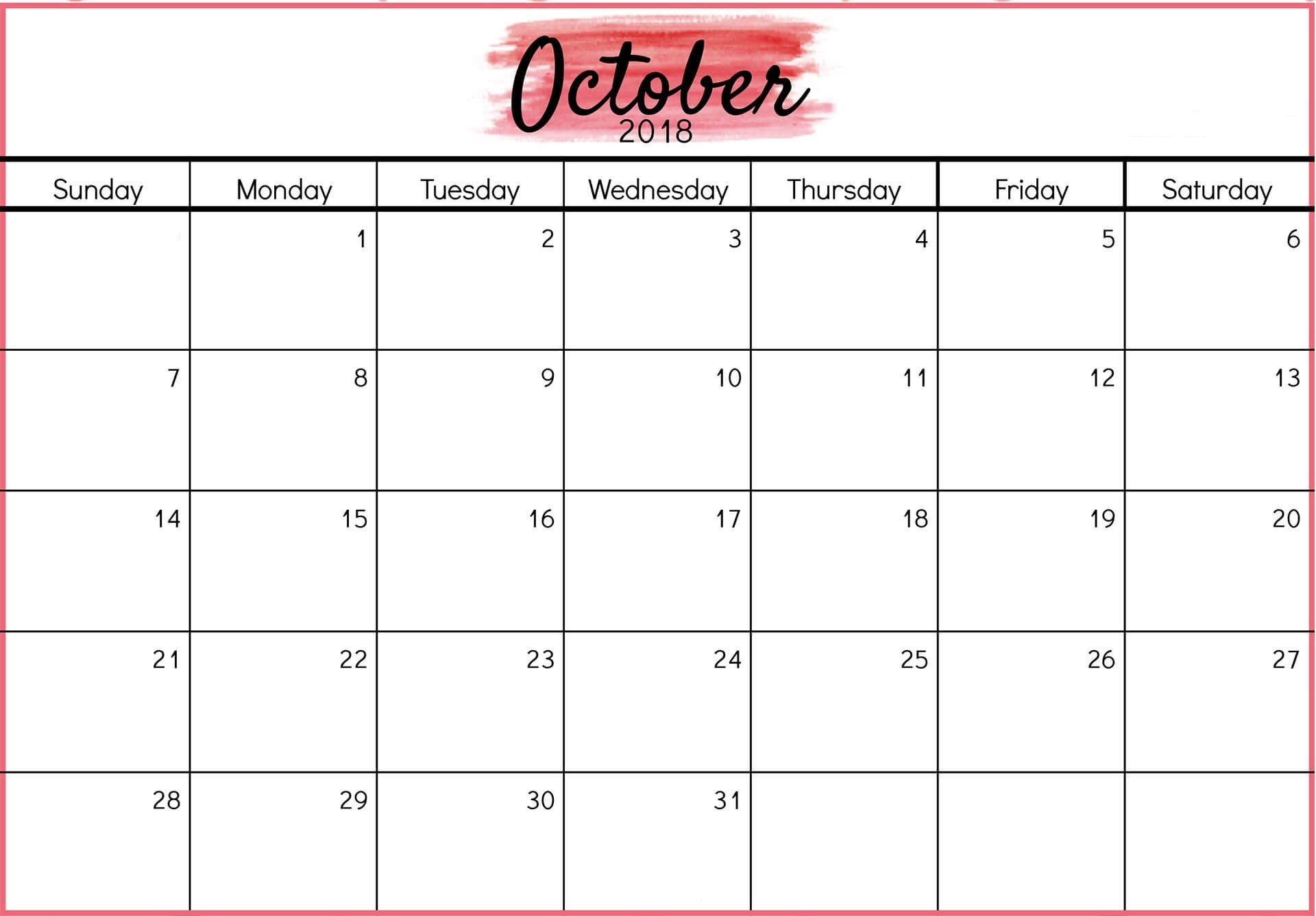 Como Imprimir Un Calendario En Word Mejores Y Más Novedosos Calendar October 2018 Word Doc October 2018 Calendar Of Como Imprimir Un Calendario En Word Recientes Calendario 2017