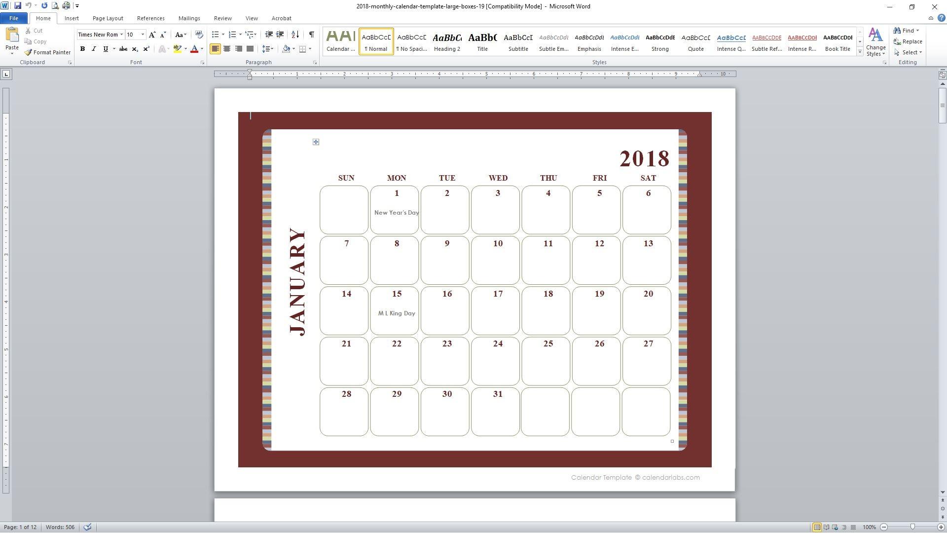 Descargar Calendario 2019 Word Actual 89 Free Calendar Templates for 2018 and Beyond