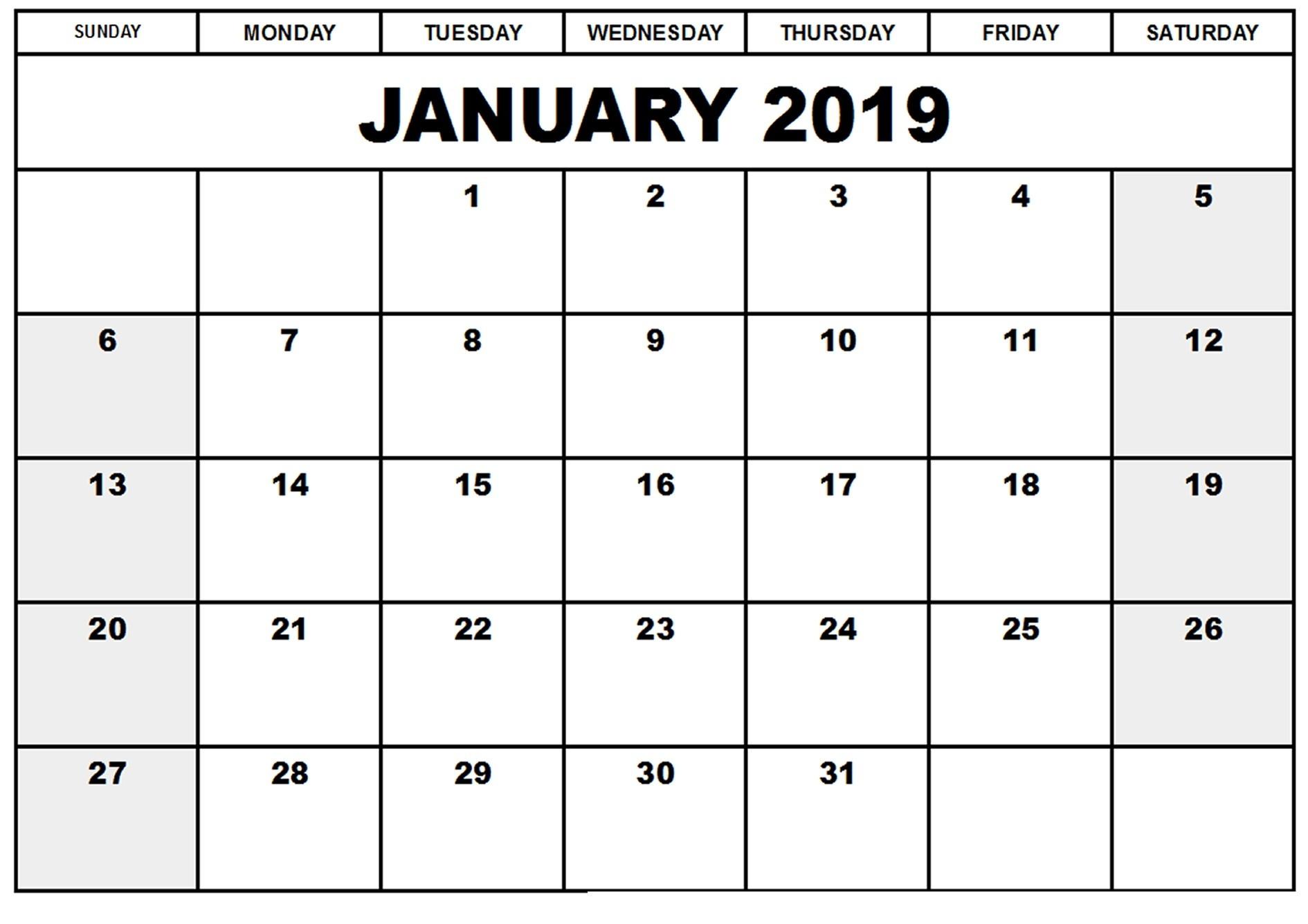 Get Free Printable January 2019 Calendar with Holidays