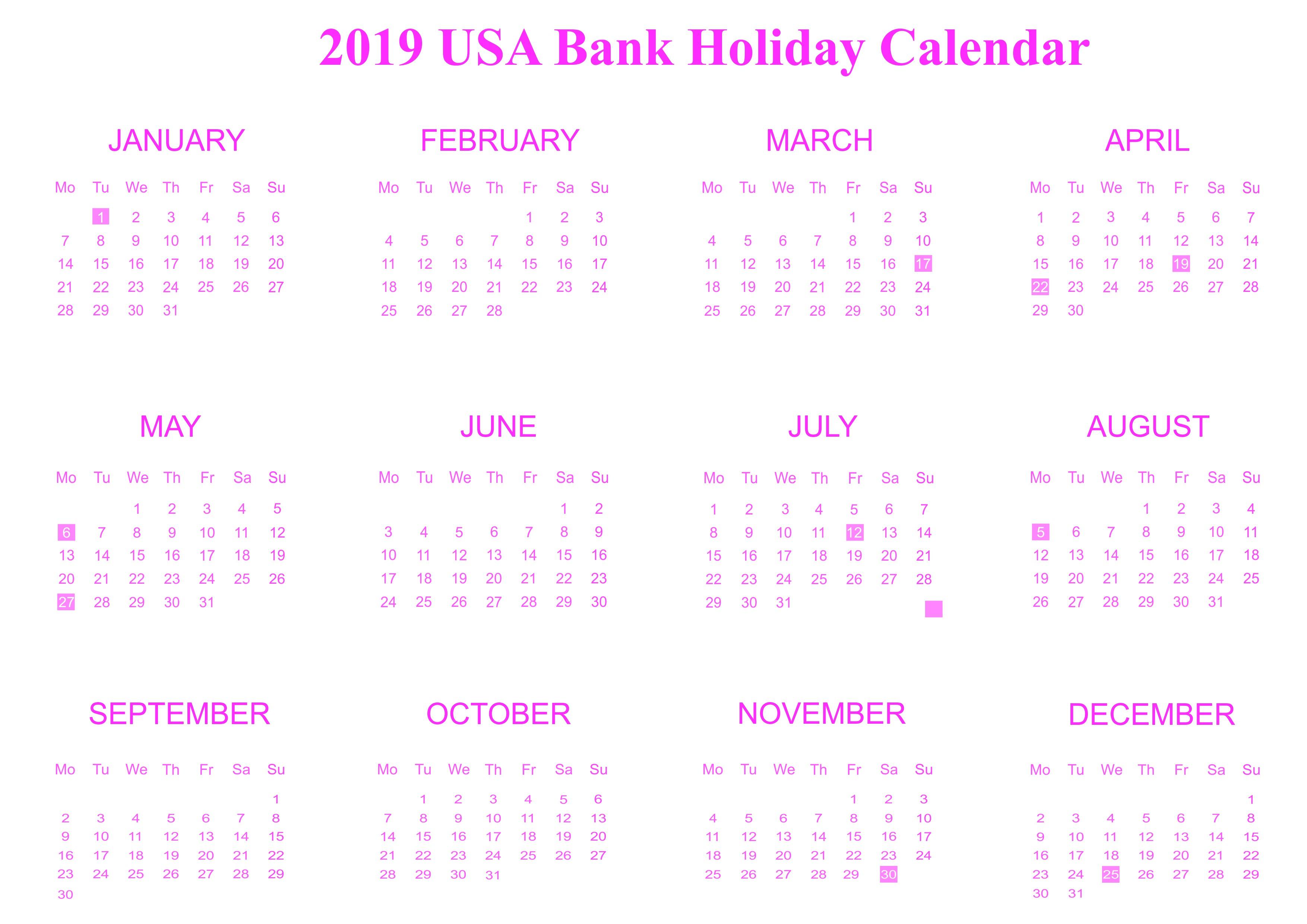 Download Free Bank Holiday 2019 USA Calendar Templates [PDF