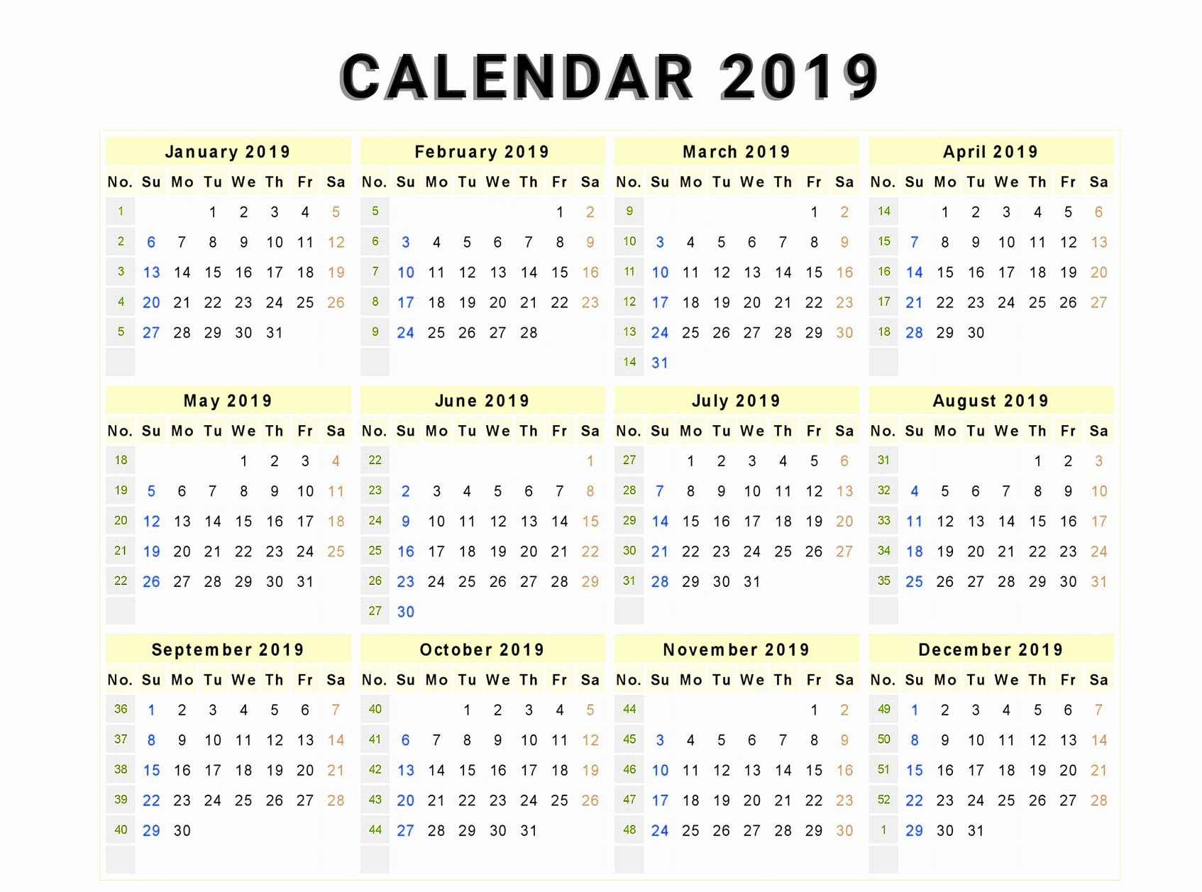 Free Yearly Editable 2019 Calendar PDF Template