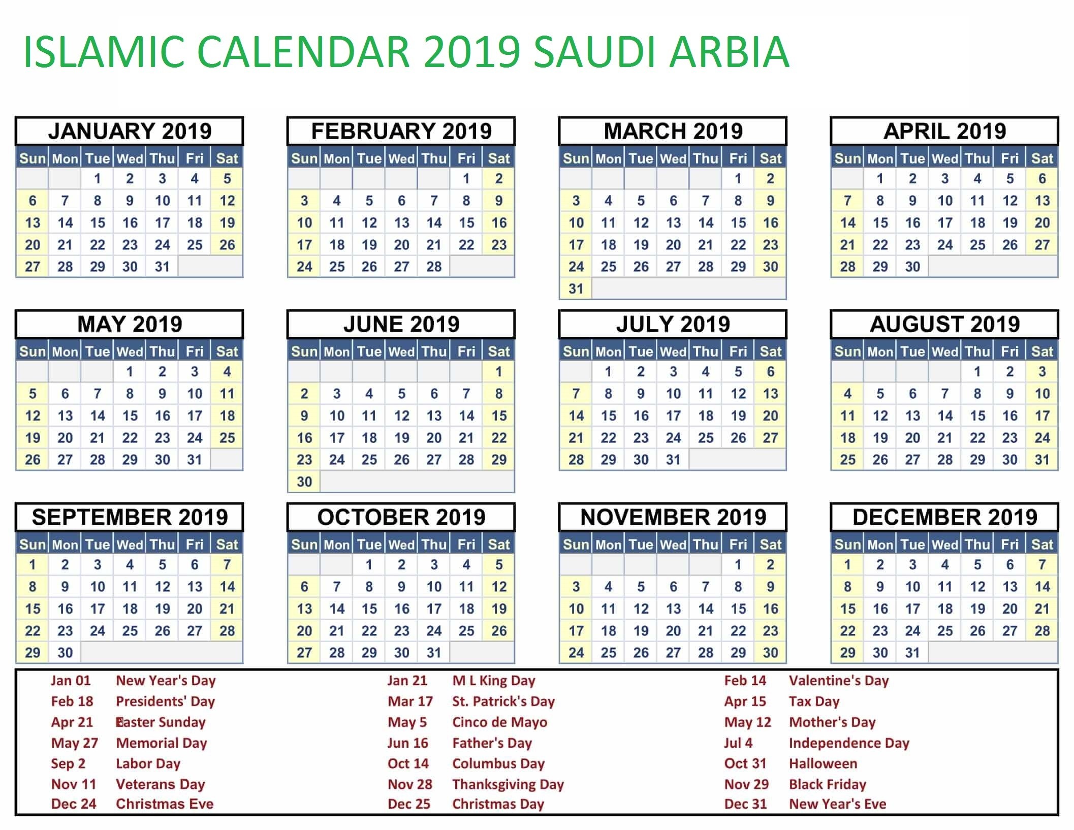 Download Kalender islam 2019 Pdf Mejores Y Más Novedosos Printable Yearly islamic Calendar 2019 Of Download Kalender islam 2019 Pdf Más Recientemente Liberado Free Yearly Editable 2019 Calendar Pdf Template