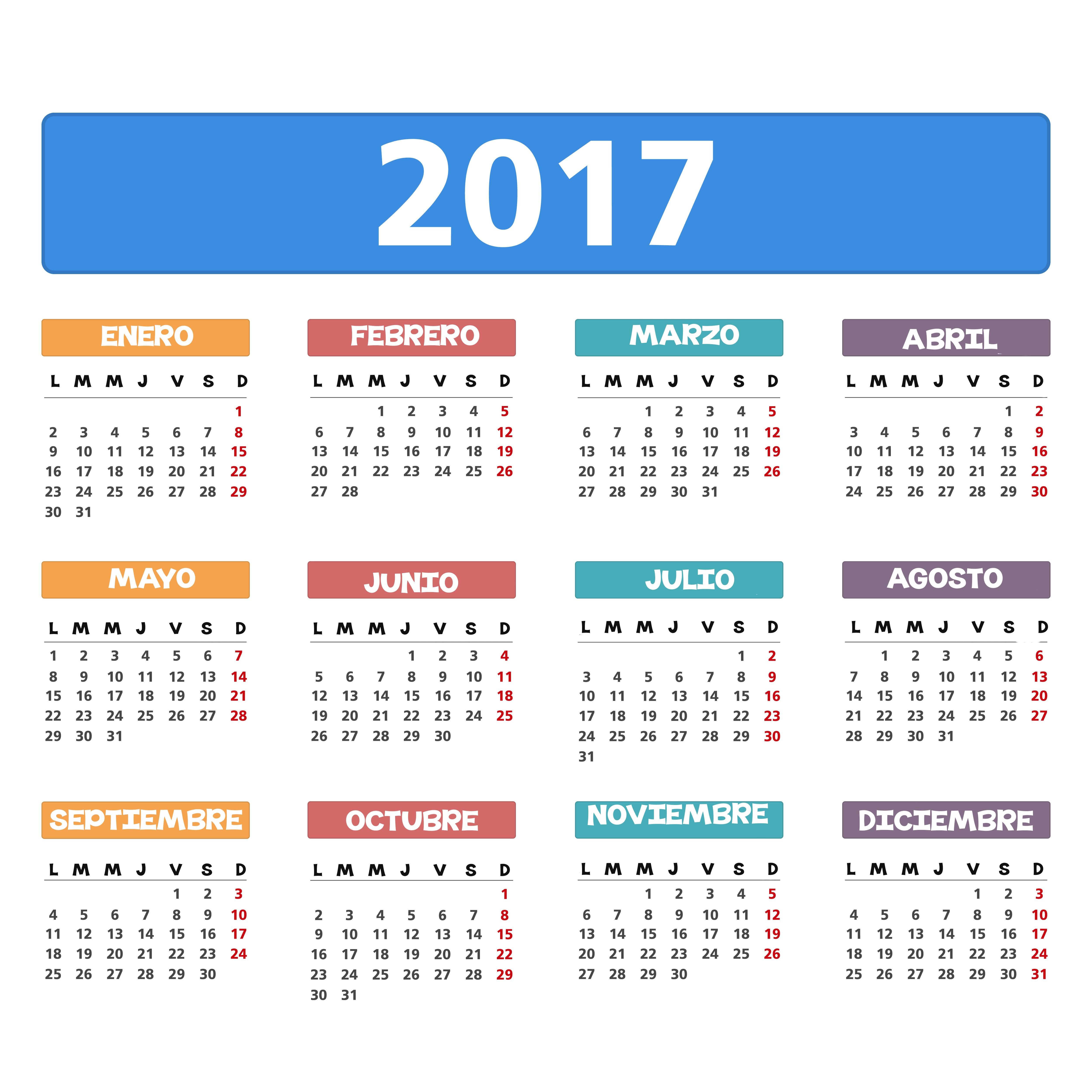 Calendario 2017 2018 Para Imprimir