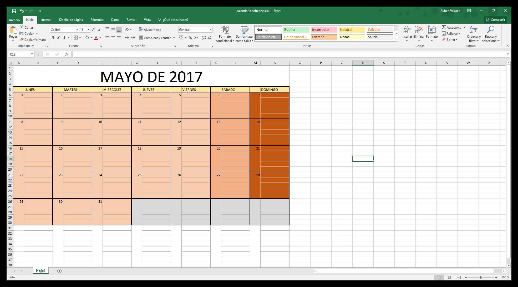 C³mo hacer un calendario 2018 en Excel
